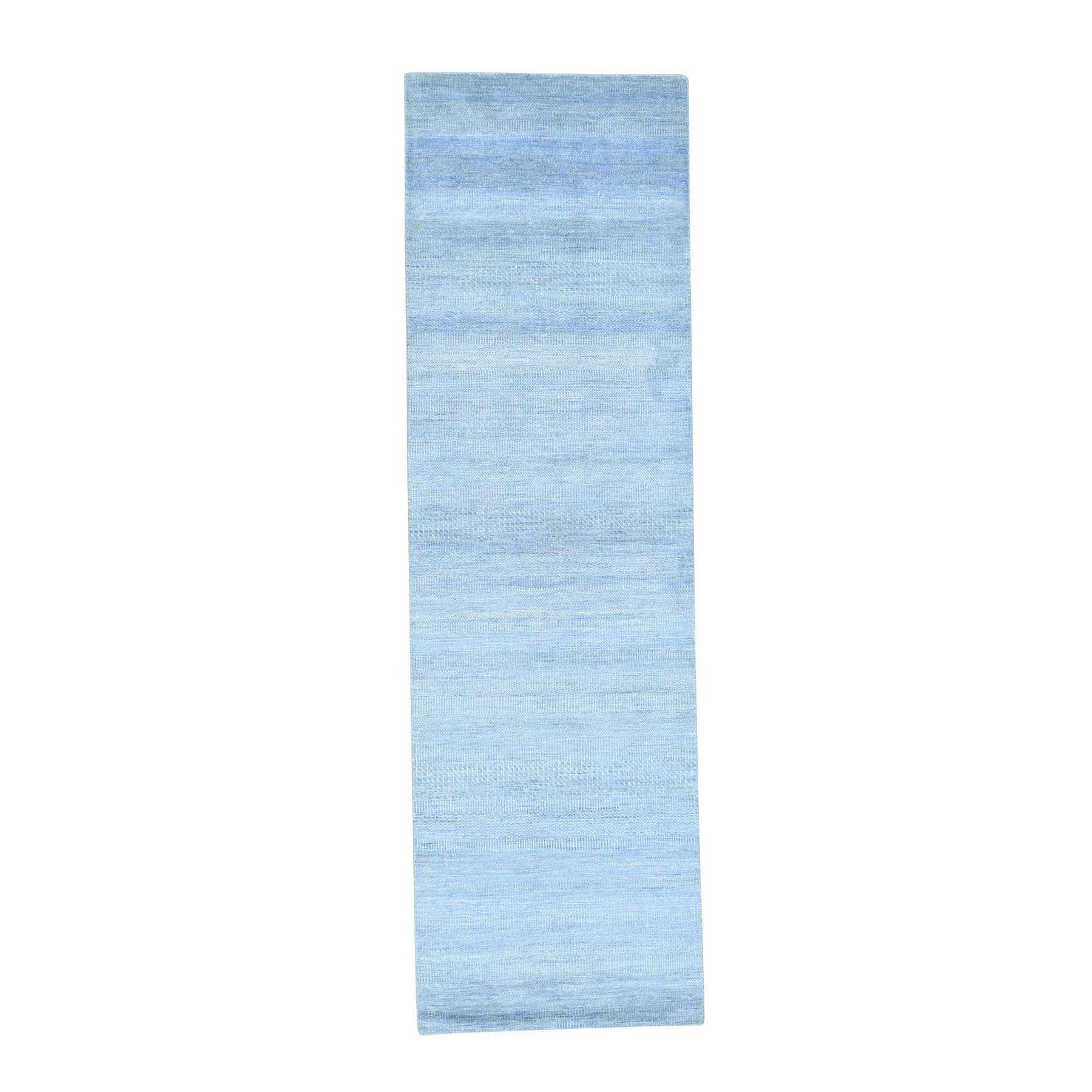"3'X9'10"" Hand-Knotted Modern Grass Design Wool And Silk Runner Rug moacecaa"