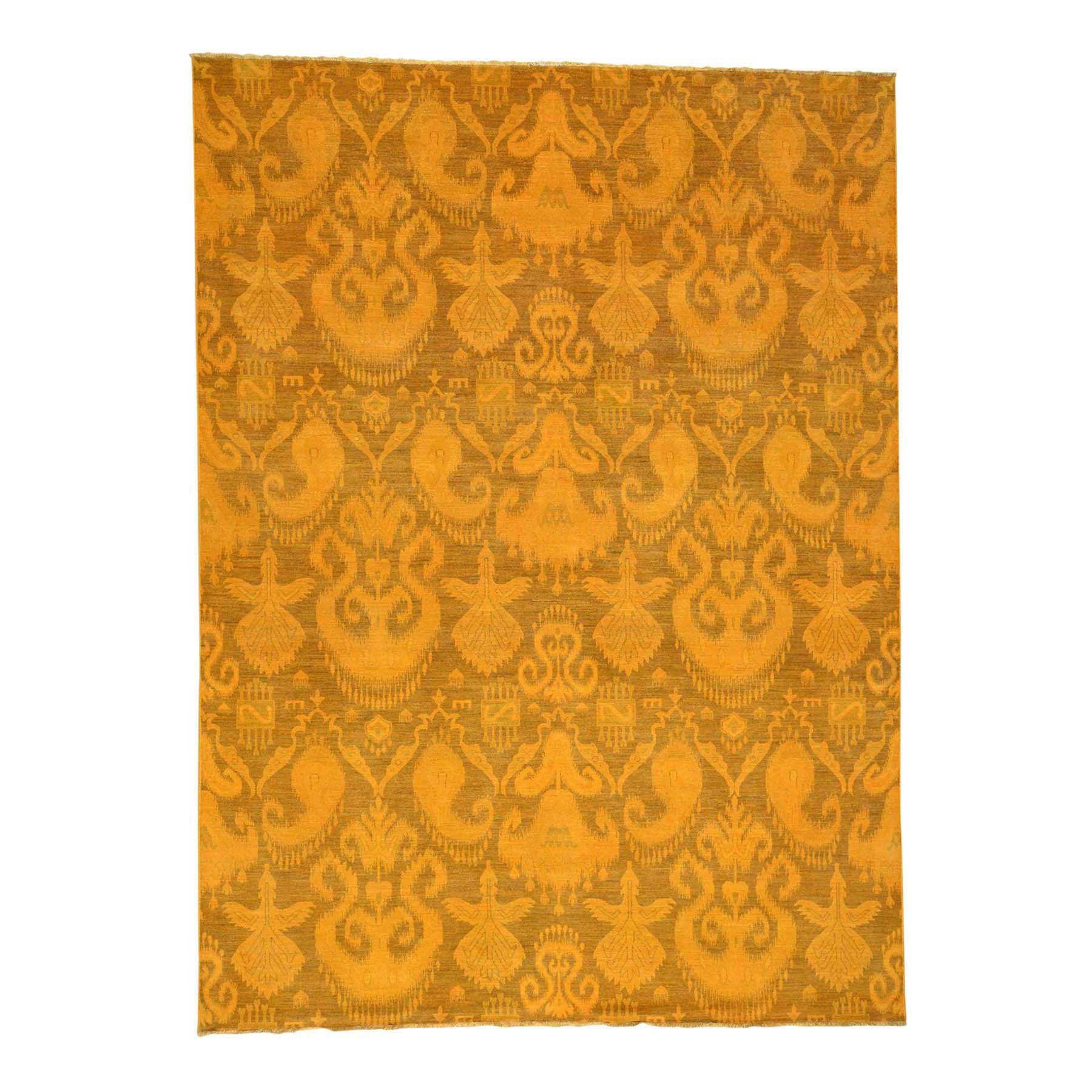 "9'1""X12'3"" Hand-Knotted Pure Wool Orange Overdyed Ikat Oriental Rug moaceca9"
