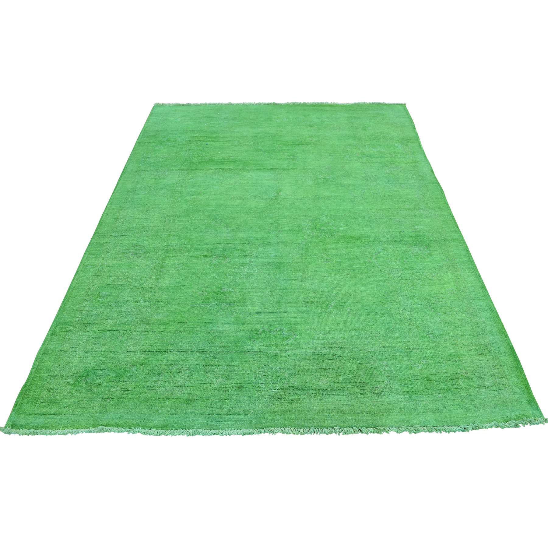 """4'2""""X6' Hand Knotted Green Cast Overdyed Peshawar Pure Wool Oriental Rug moacec99"""