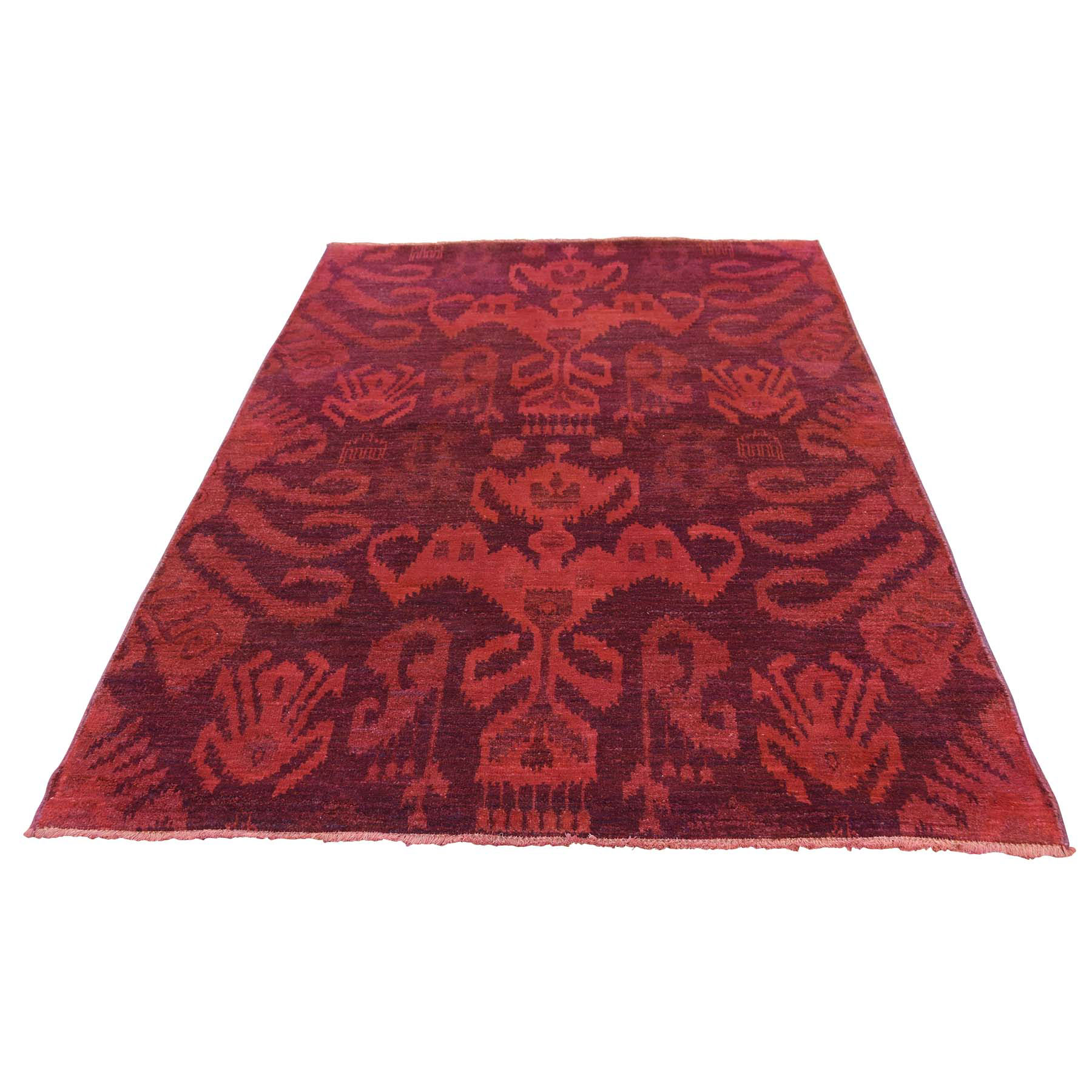 """4'1""""X6' Hand Knotted Red Cast Ikat Overdyed Pure Wool Oriental Rug moaced0d"""