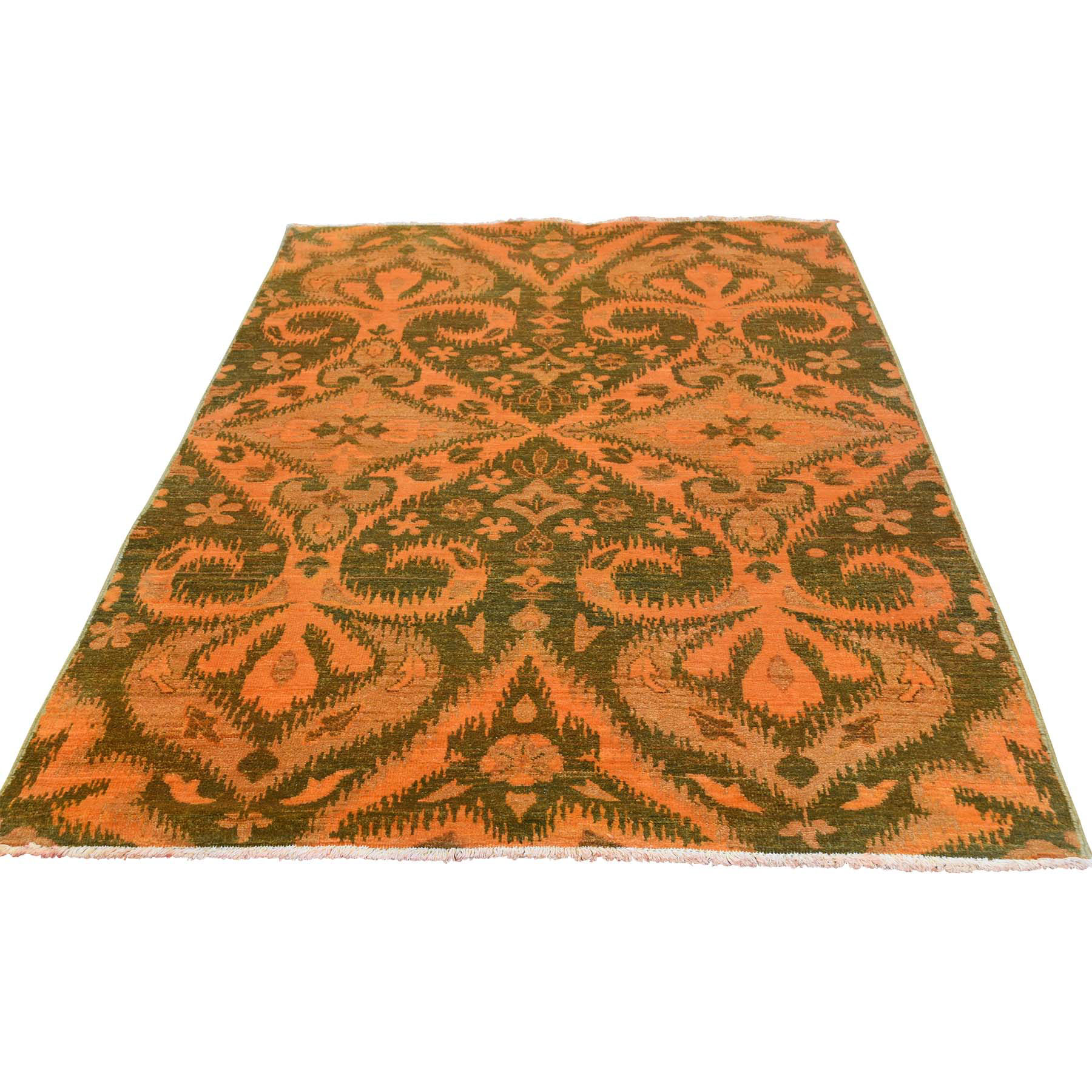 "4'1""X6'1"" Hand Knotted Orange Cast Ikat Overdyed Pure Wool Oriental Rug moaced09"