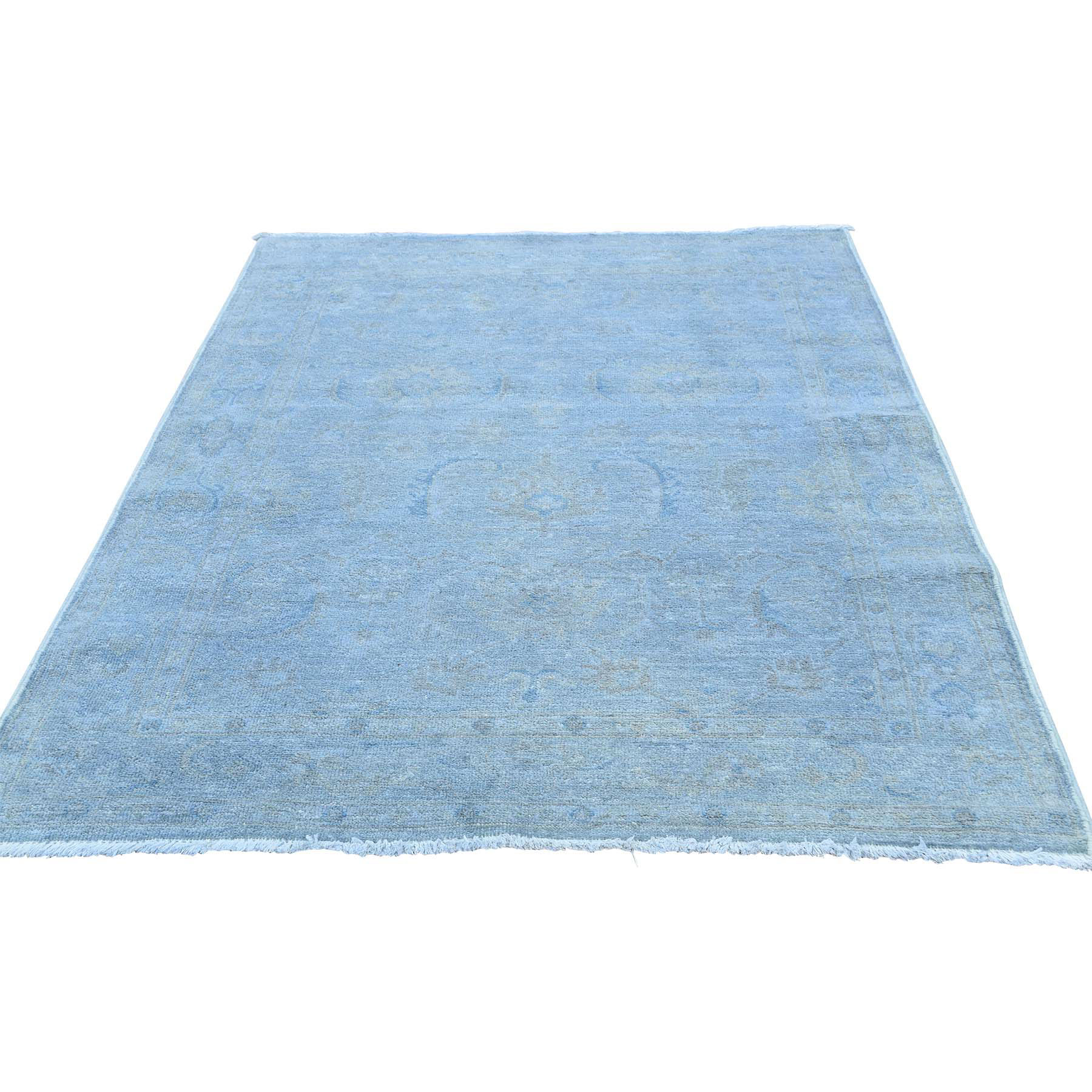 """4'X5'9"""" Silver Wash Peshawar Pure Wool Hand Knotted Oriental Rug moaceda7"""