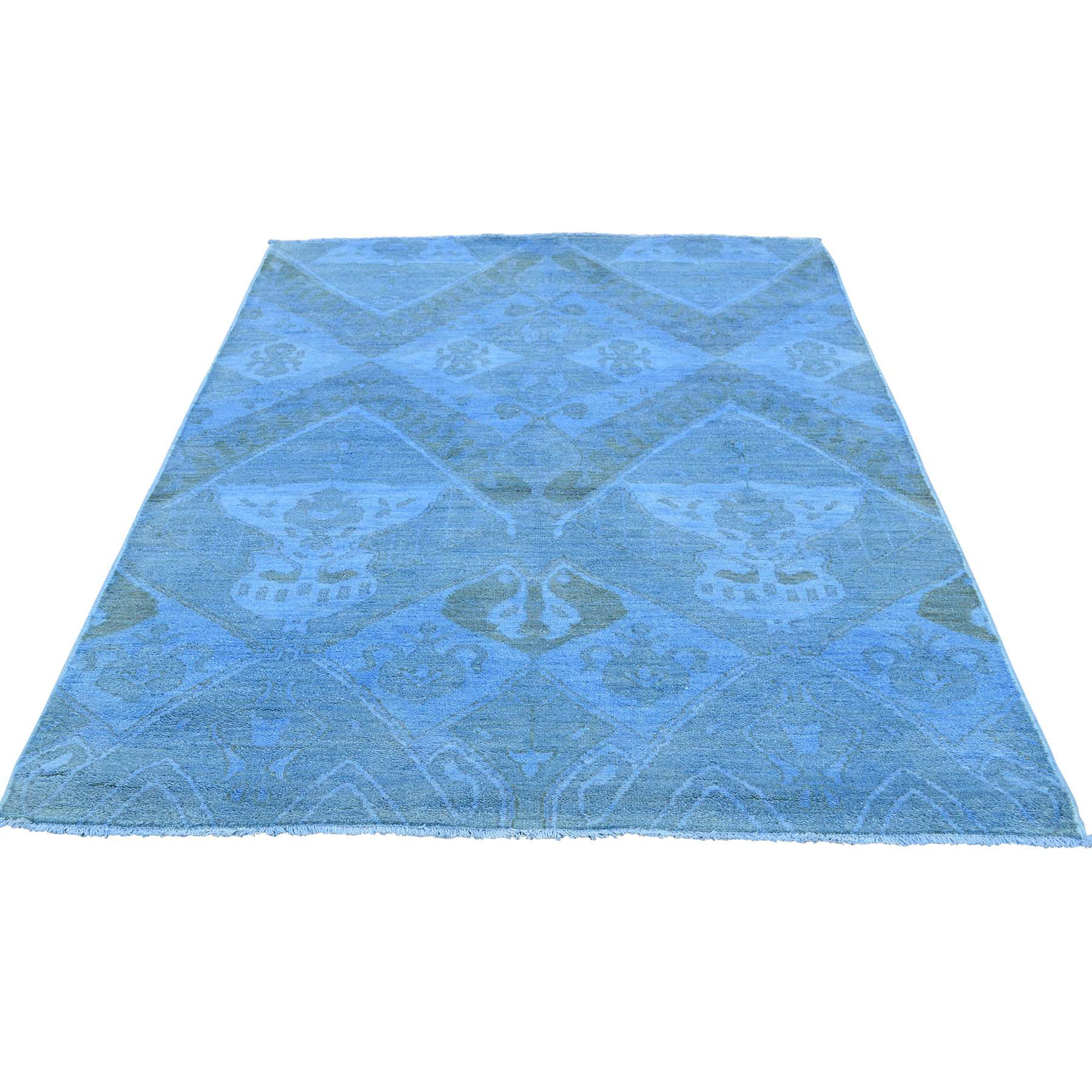 """4'1""""X5'7"""" Hand Knotted Sky Blue Cast Ikat Overdyed Pure Wool Oriental Rug moaceda8"""