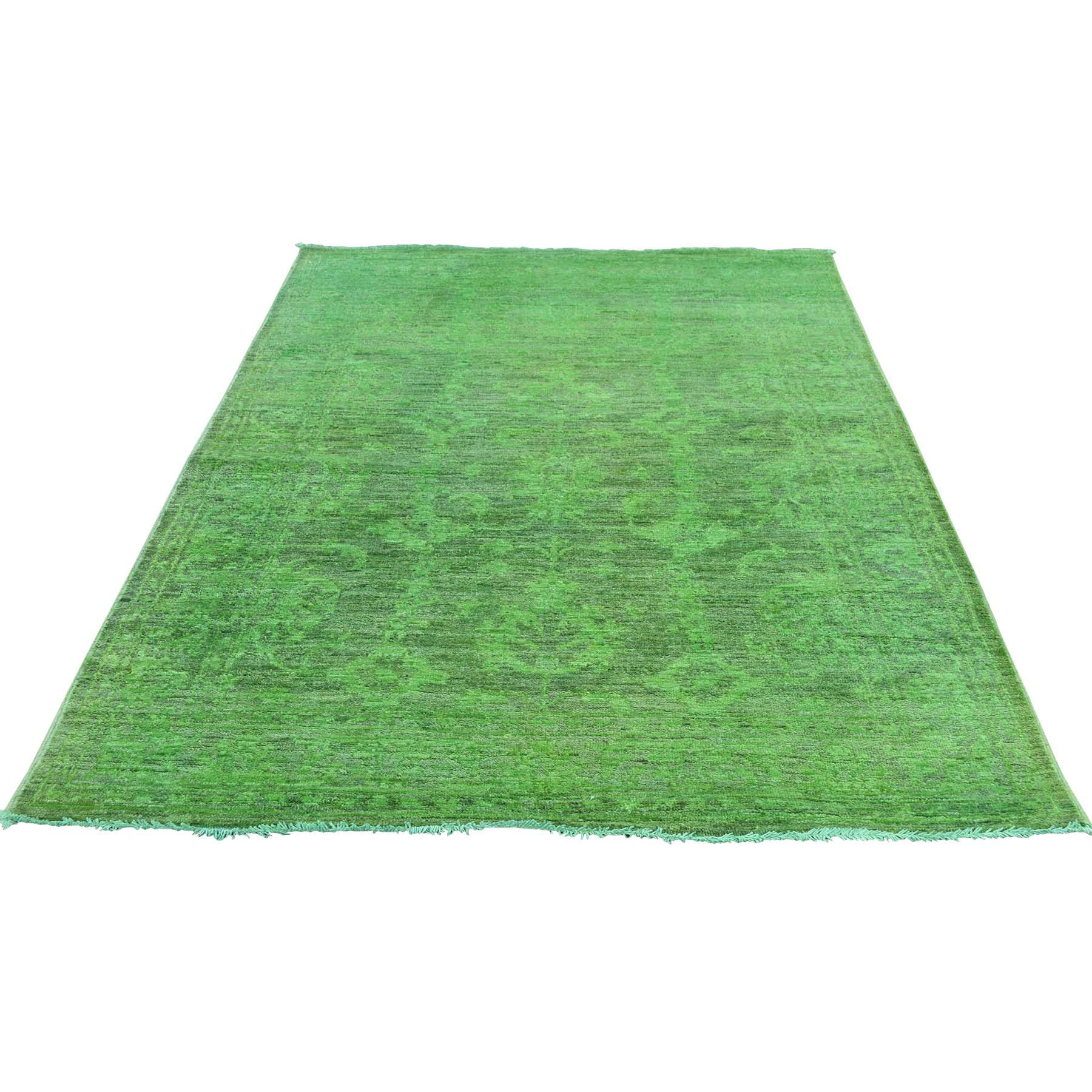 "4'1""X6'2"" Hand Knotted Green Cast Peshawar Overdyed Pure Wool Rug moaceda9"