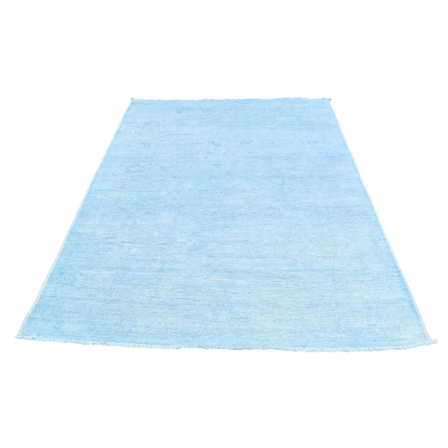 4'X6' Hand Knotted Sky Blue Cast Peshawar Overdyed Pure Wool Oriental Rug moacedbe