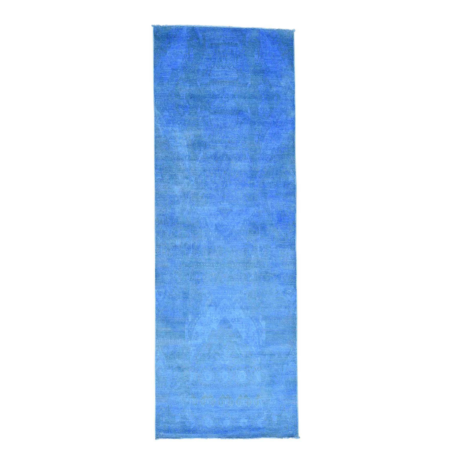 """4'2""""X12' Hand Knotted Blue Cast Ikat Overdyed Pure Wool Wide Runner Rug moacedc7"""