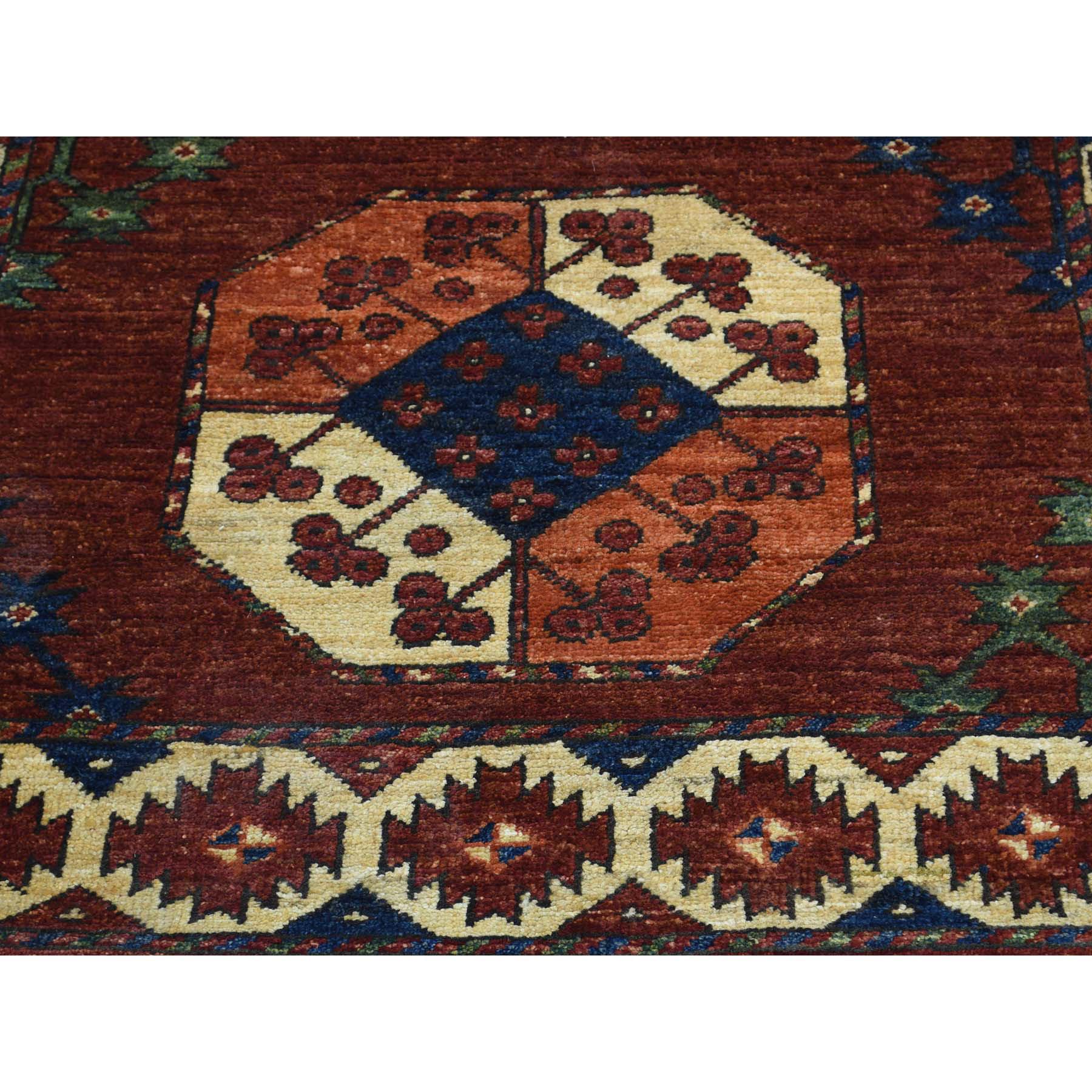 3-x12-7  Hand Knotted Afghan Ersari Elephant Feet Design Runner Rug