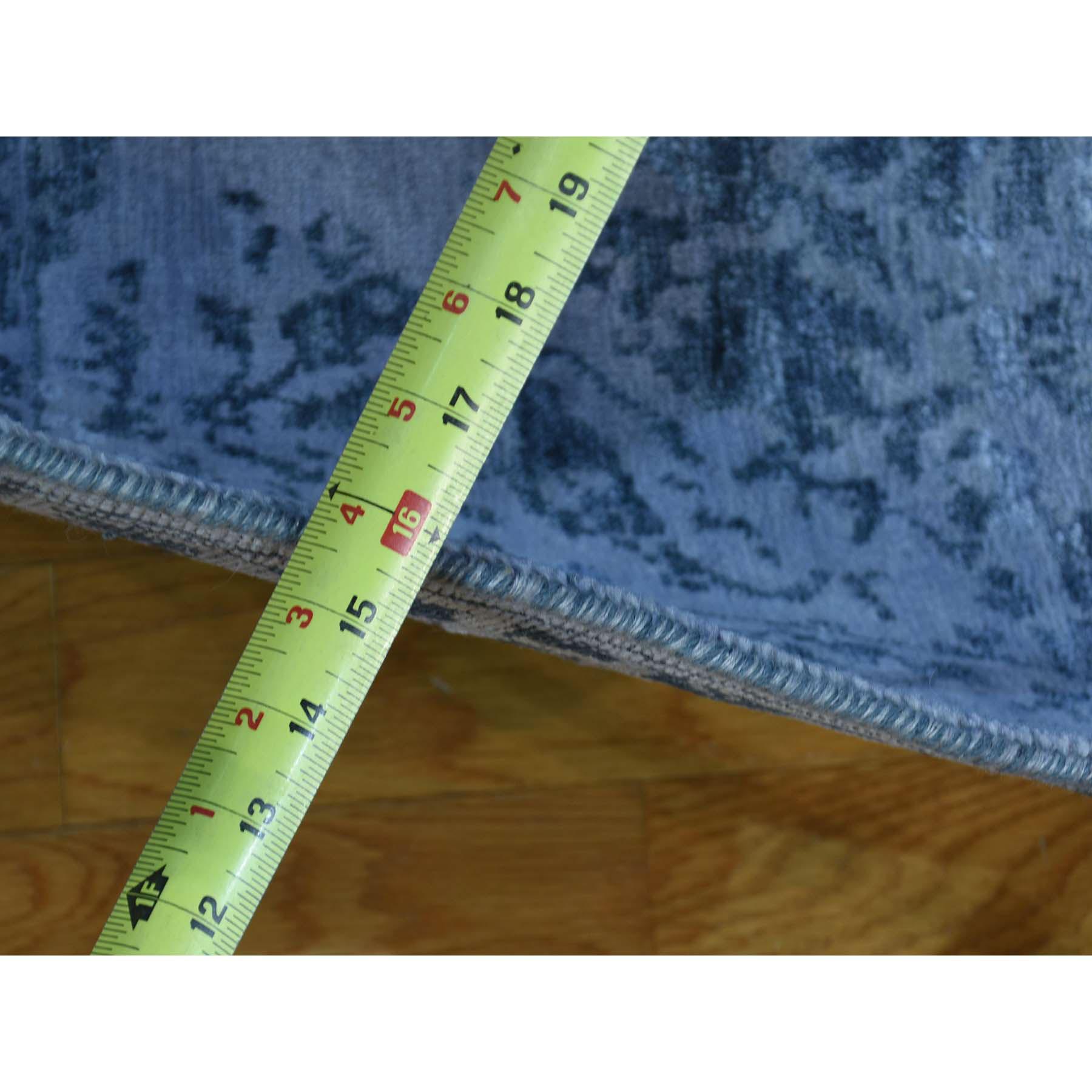 """3'1""""x7'9"""" Hand Knotted Modern Broken Design Wool And Silk Runner Rug"""