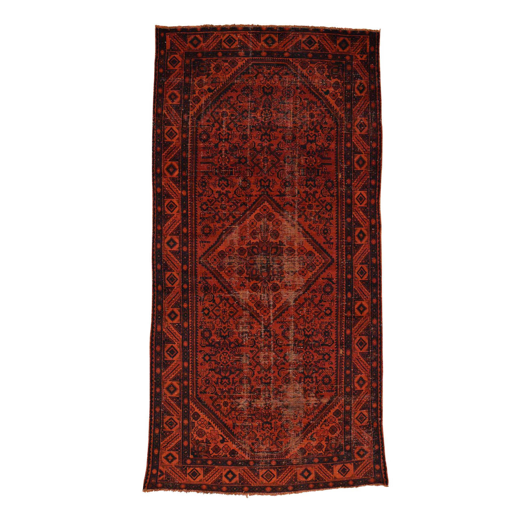 "5'X9'5"" Handmade Overdyed Persian Hussainabad Vintage Wide Runner Rug moace680"