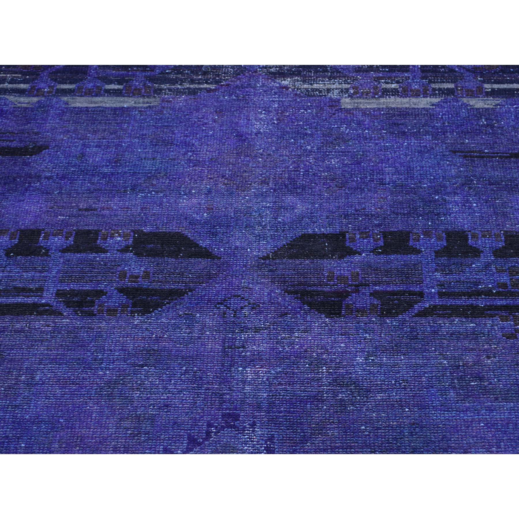 4-2 x9-10  Hand-Knotted Abrash Effect Overdyed Persian Hamadan Wide Runner Rug