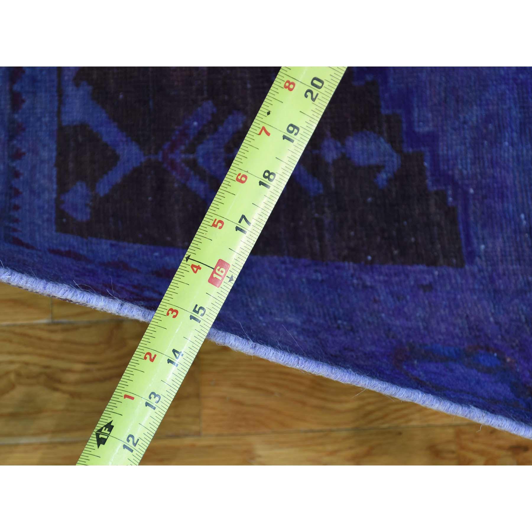 4-2 x9-10  Abrash Effect Overdyed Persian Hamadan Vintage Wide Runner Rug