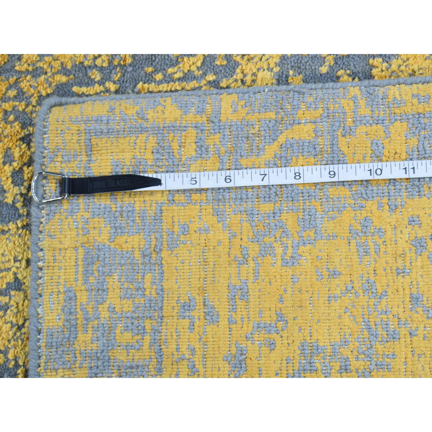 "7'9""x10'2"" Hand-Loomed Orange Broken Design Wool and Silk Rug"