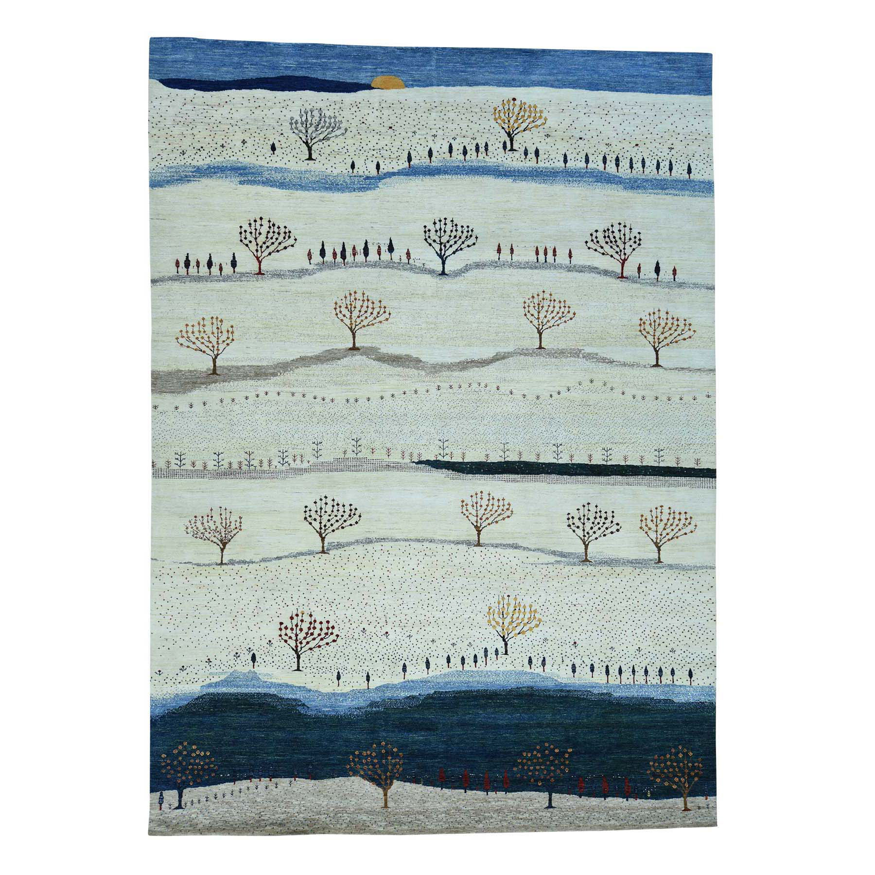 "9'9""x14' Hand-Knotted Modern Folk Art Gabbeh Persian Wool Oriental Rug"