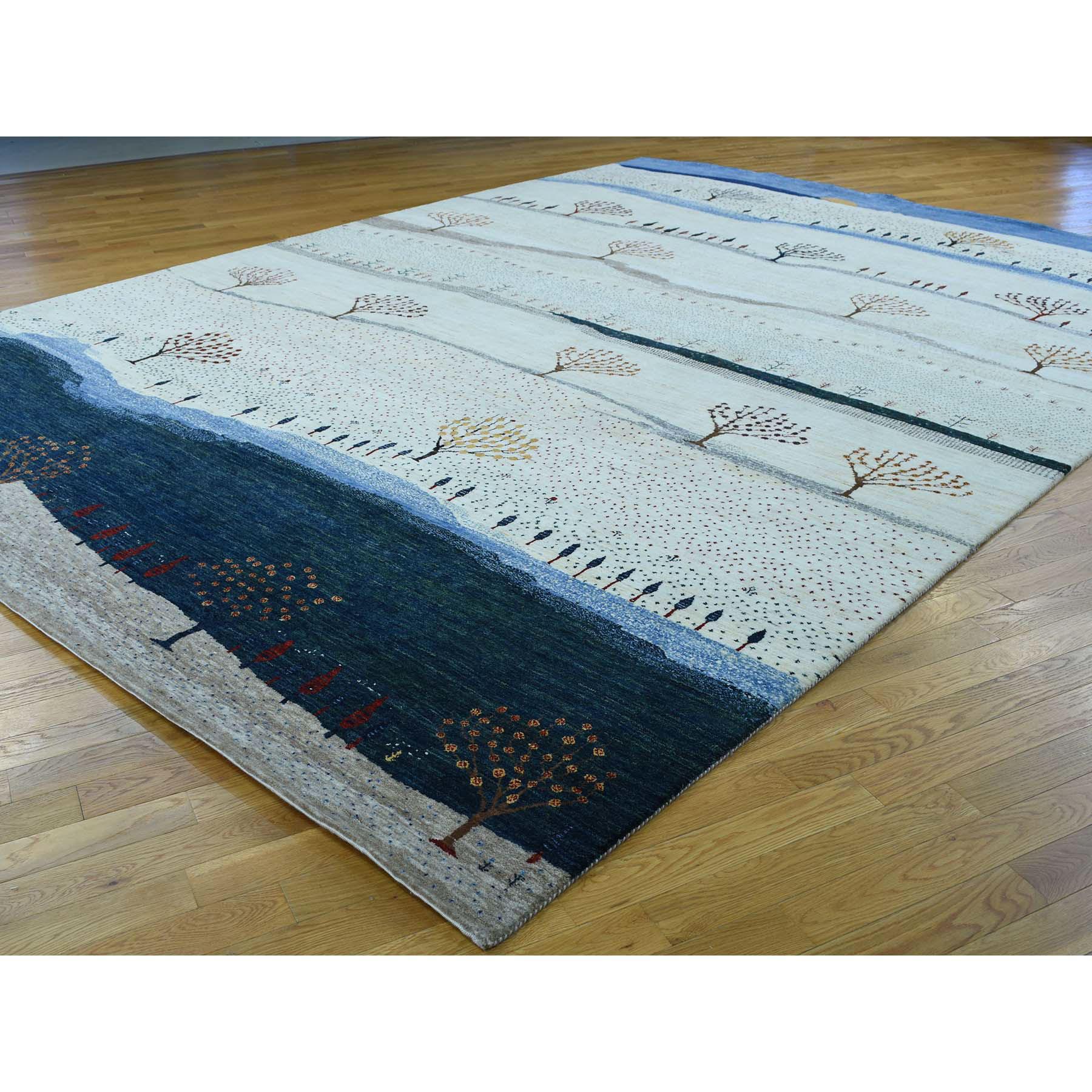 9-9 x14- Hand-Knotted Modern Folk Art Gabbeh Persian Wool Oriental Rug