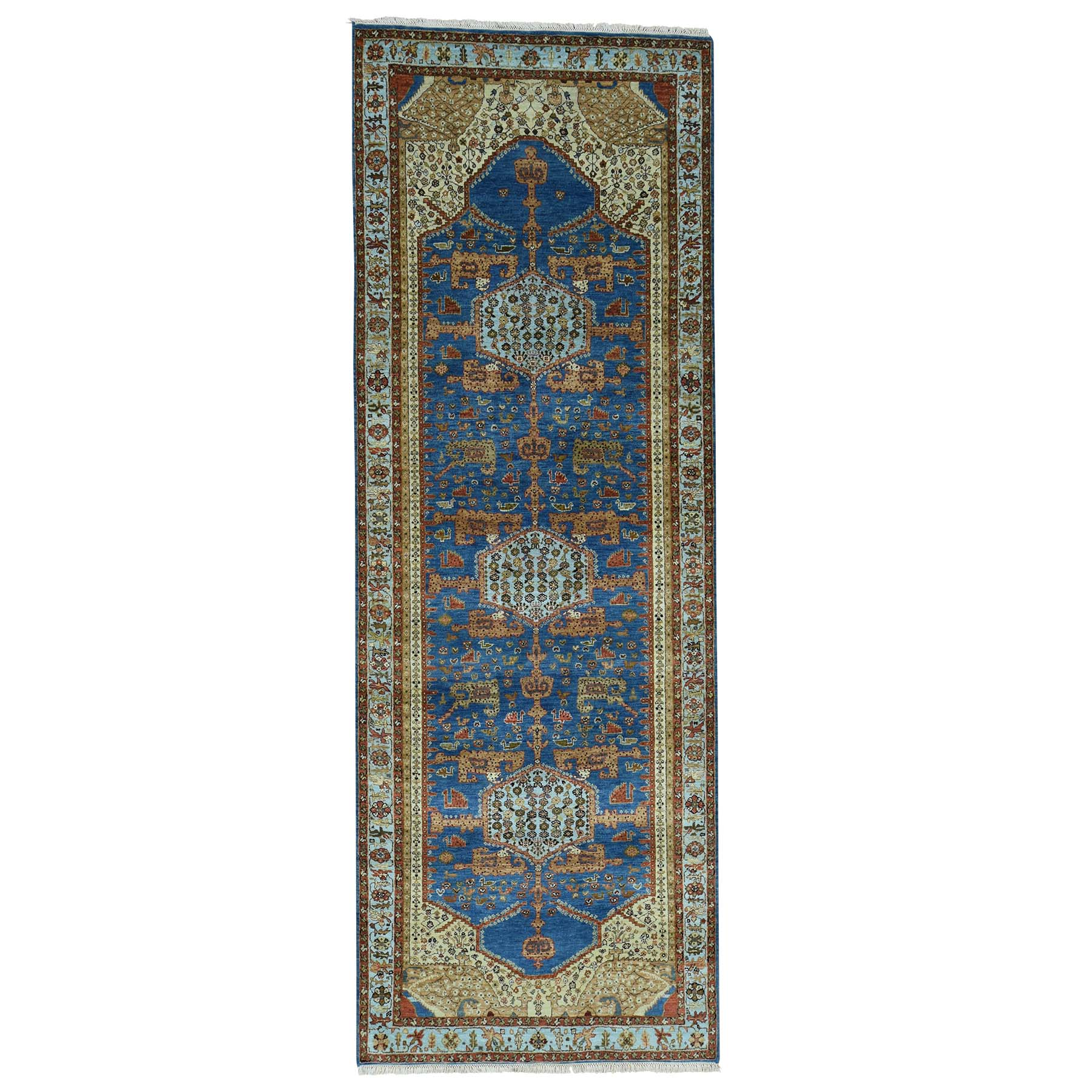 "4'2""X11'9"" Antiqued Bakshaish Natural Dyes High Kpsi Oriental Wide Runner Rug moace8b9"