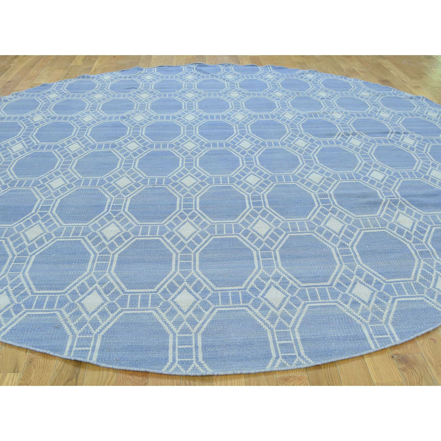 9-8 x9-8  Hand-Woven Flat Weave Reversible Durie Kilim Round Oriental Rug