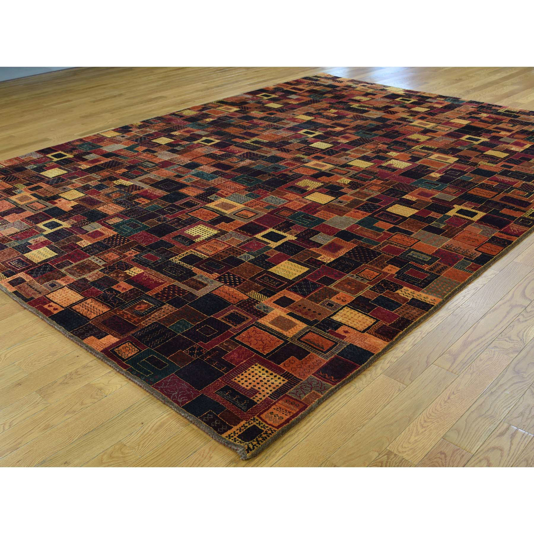 8-4 x11-3  Gabbeh Lori Buft Dense Weave New Zealand Wool Patch Design Rug