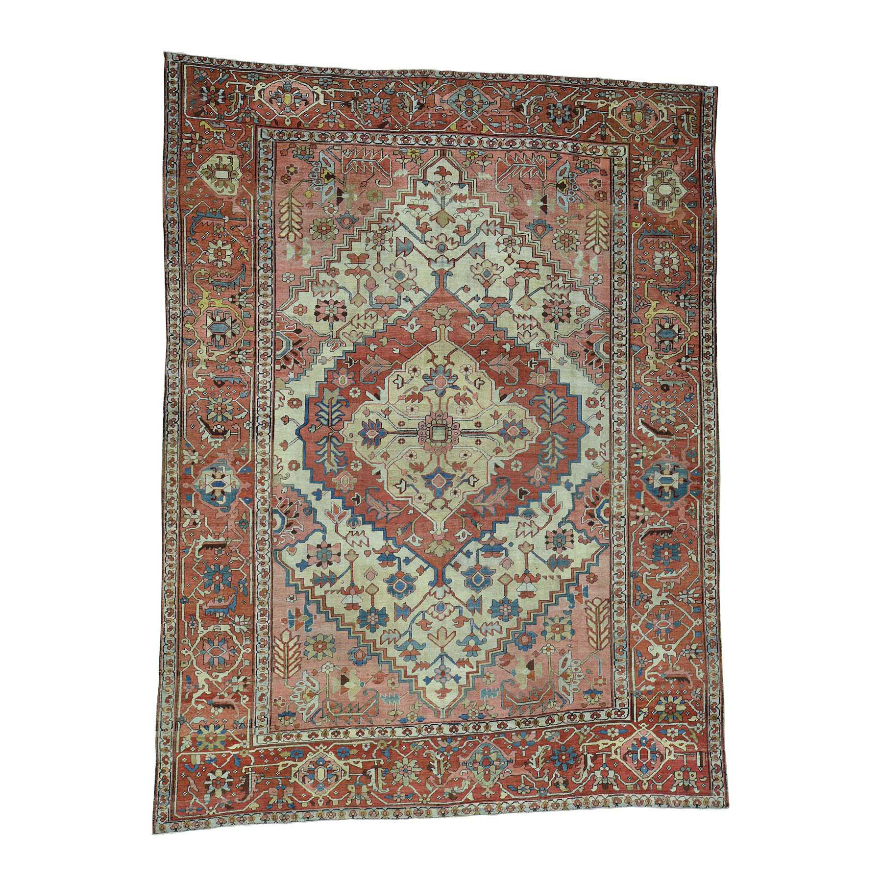 "9'7""X12'4"" Excellent Condition Antique Persian Serapi Hand-Knotted Rug moace9db"