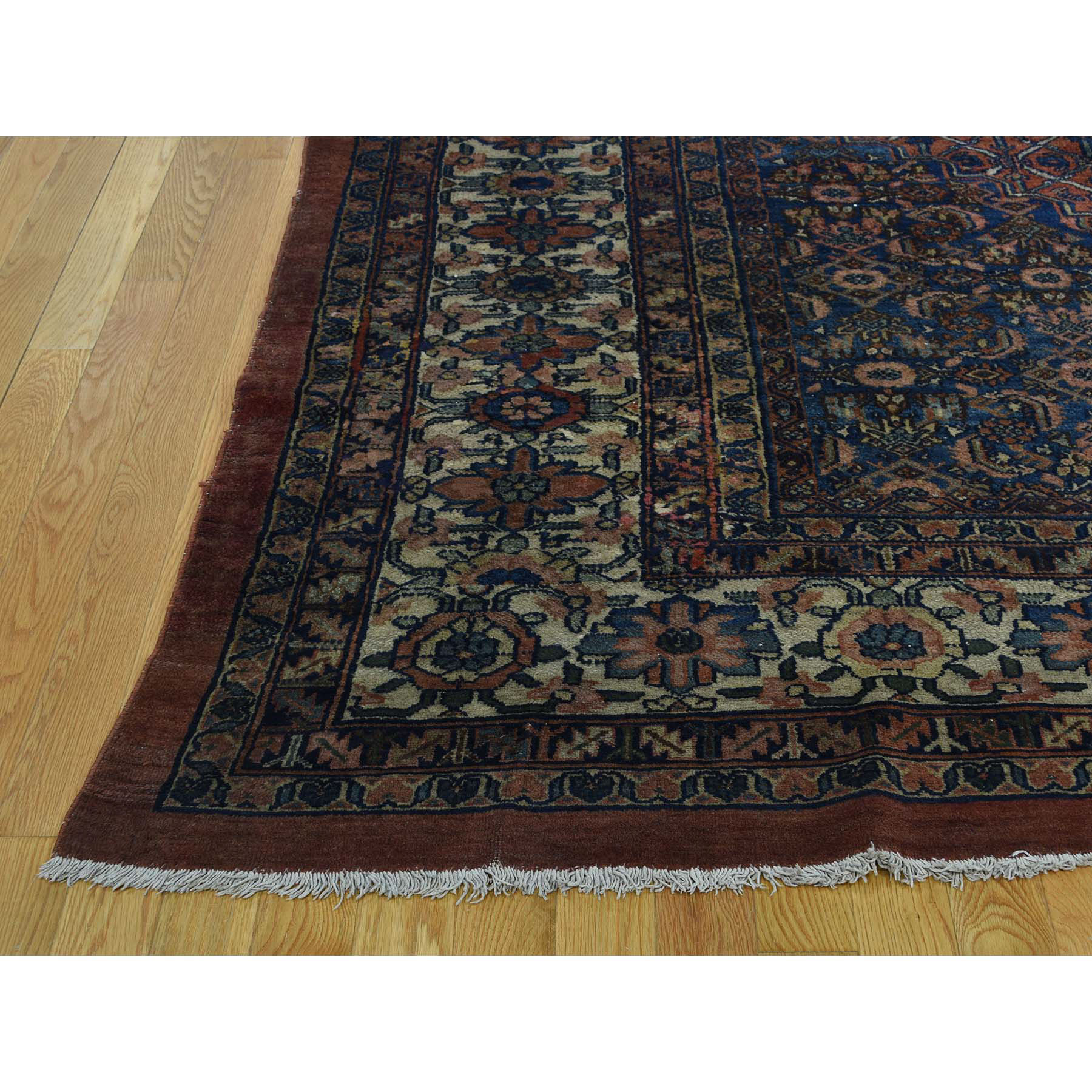 11-10 x23-4  Antique Persian Bibikabad Hand-Knotted Gallery Size Rug