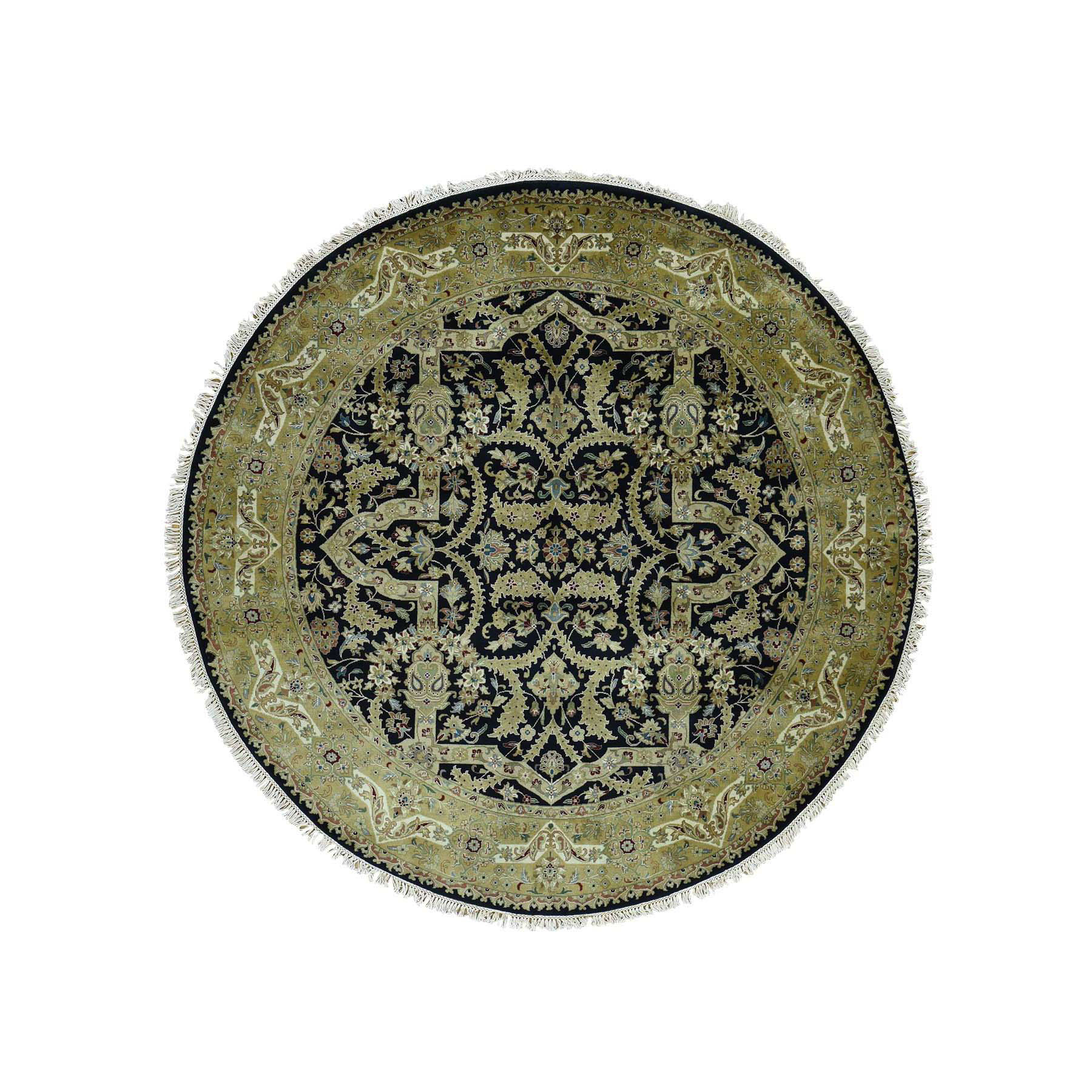 "6'10""x6'10"" Kashan Revival New Zealand Wool 300 KPSI Round Oriental Rug"