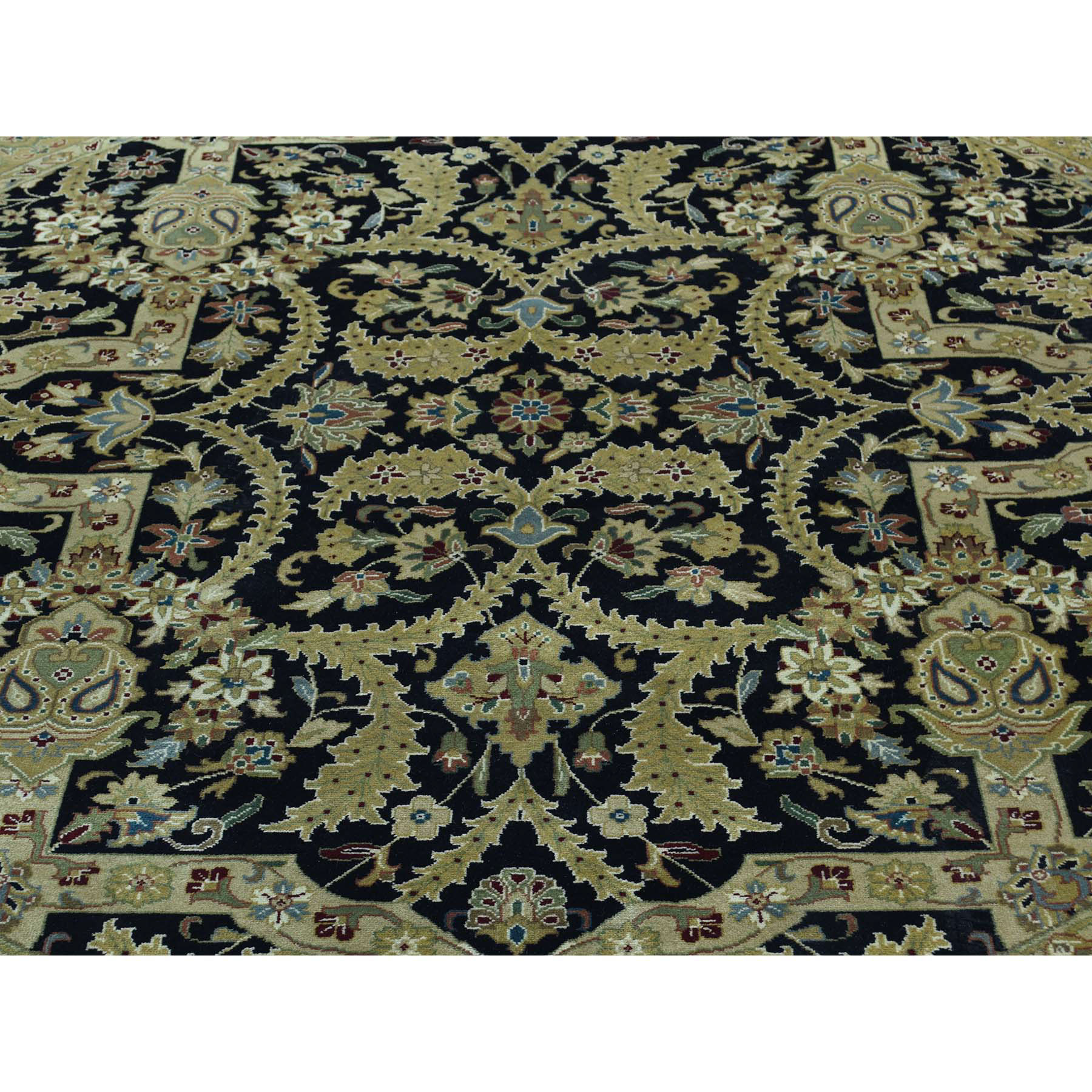 """6'10""""x6'10"""" Kashan Revival New Zealand Wool 300 KPSI Round Oriental Rug"""