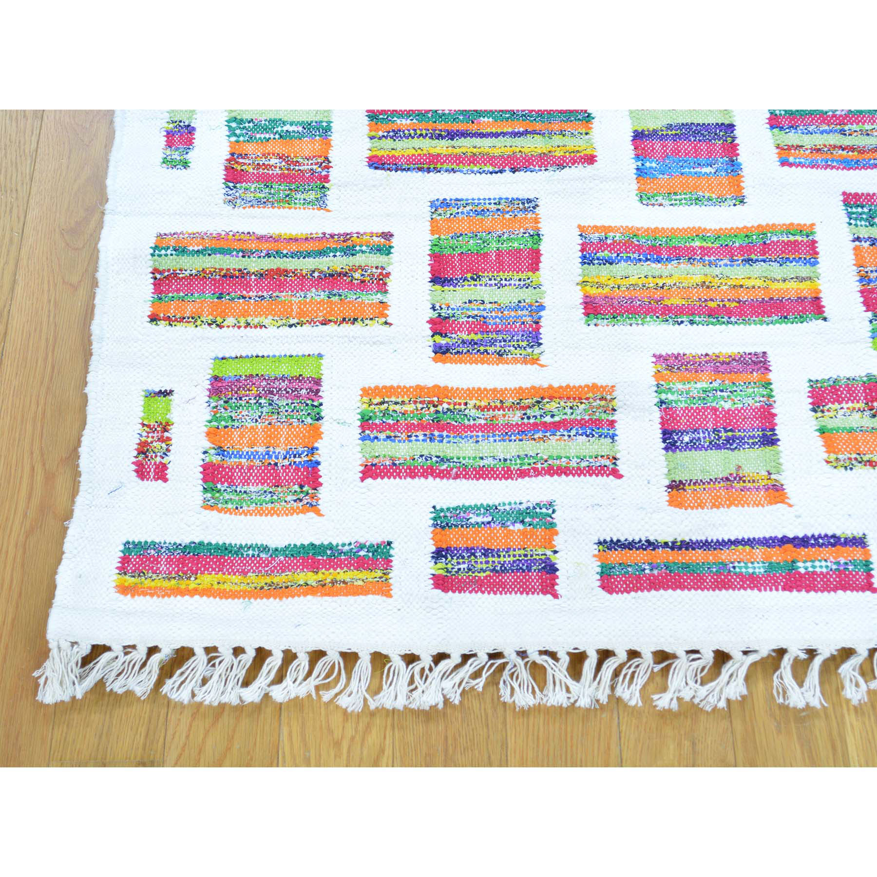 3-4 x6- Pure Cotton Recycled Clothes Kilim Hand-Woven Oriental Rug