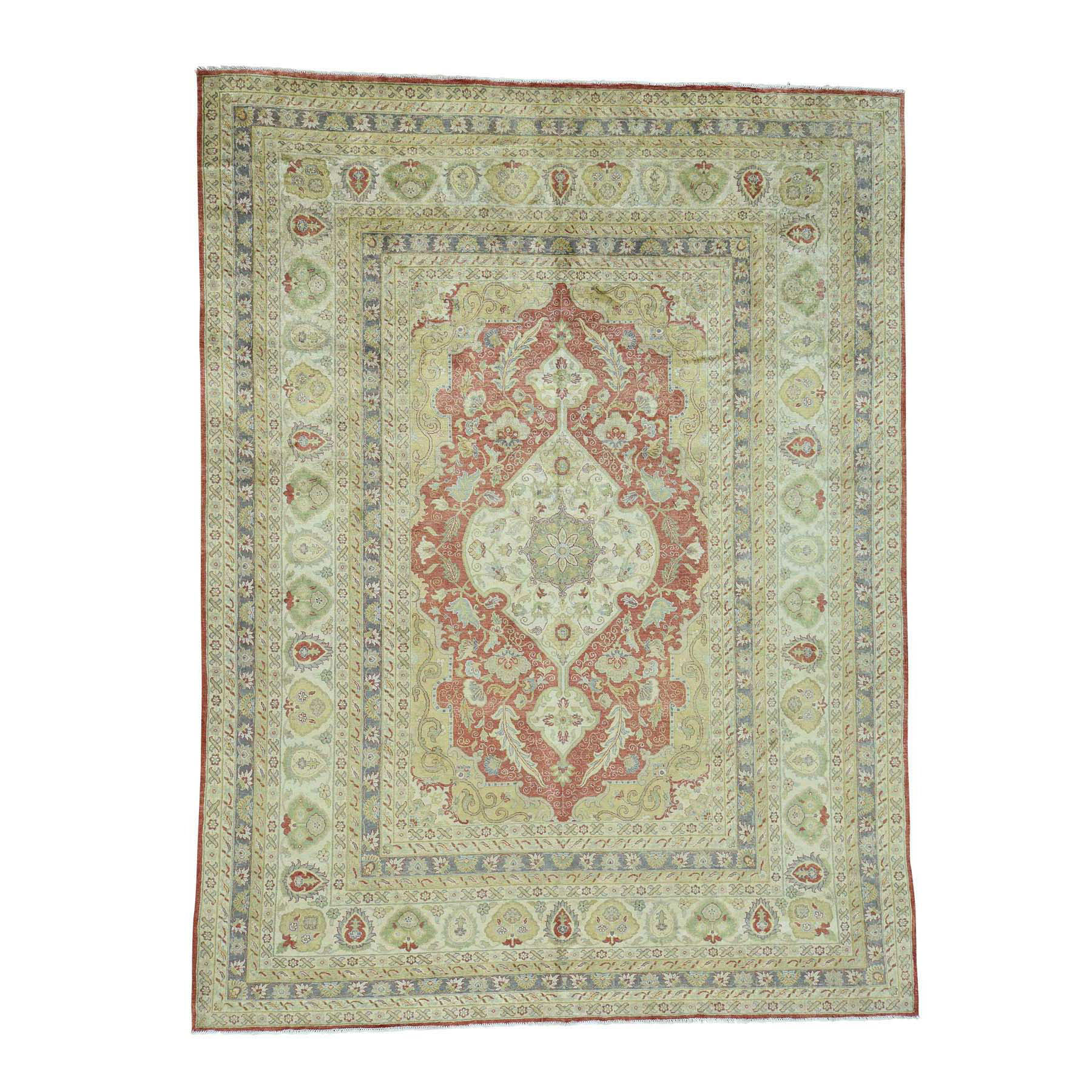 "9'X11'9"" Pure Silk Antiqued Ottoman Design Hand-Knotted Oriental Rug moac60cd"