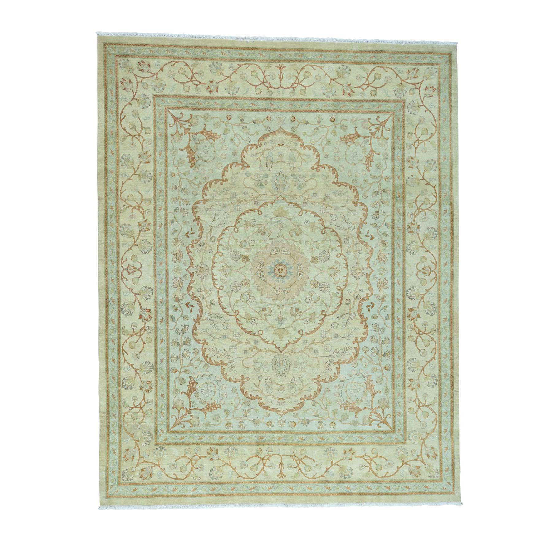 "8'1""X10'5"" Antiqued Tabriz With Pastel Colors Hand-Knotted Oriental Rug moac60d8"