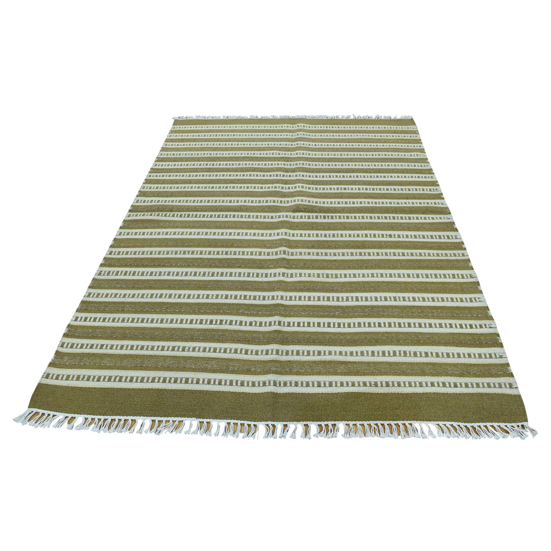"4'X6'2"" Hand-Woven Striped Durie Kililm Flat Weave Oriental Rug moac60ea"