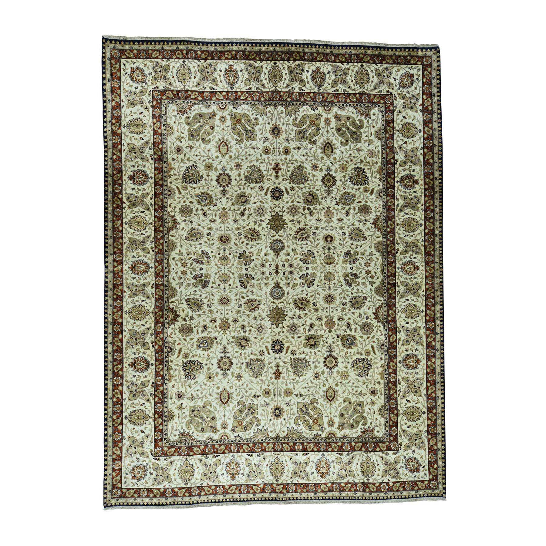 """10'2""""X13'7"""" Fine Oriental Pure Wool Antiqued Tabriz Hand-Knotted Rug moac606a"""