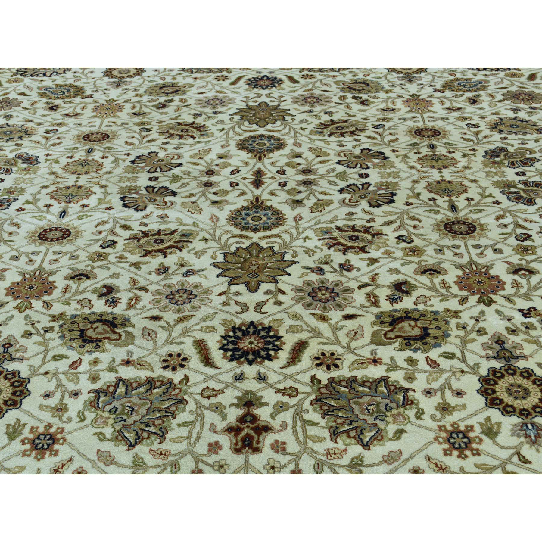 10-2 x13-7  Fine Oriental Pure Wool Antiqued Tabriz Hand-Knotted Rug