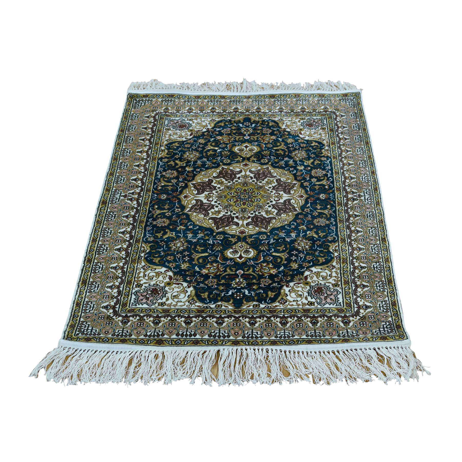 "2'1""x3' 600 Kpsi Pure Silk Tabriz Hand-Knotted Oriental Rug"