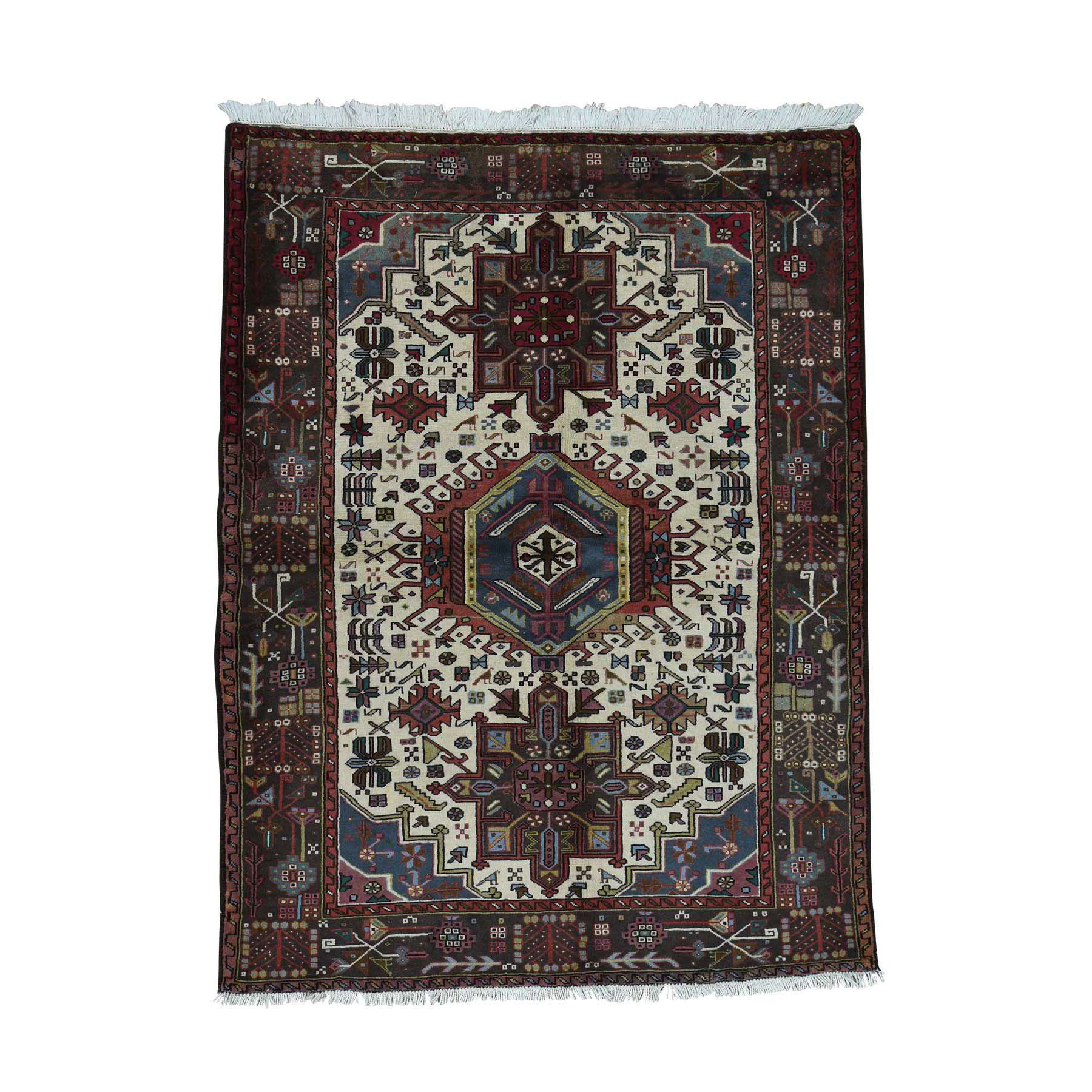 """5'1""""X6'7"""" Persian Karajeh Hand-Knotted Pure Wool Oriental Rug moac6088"""