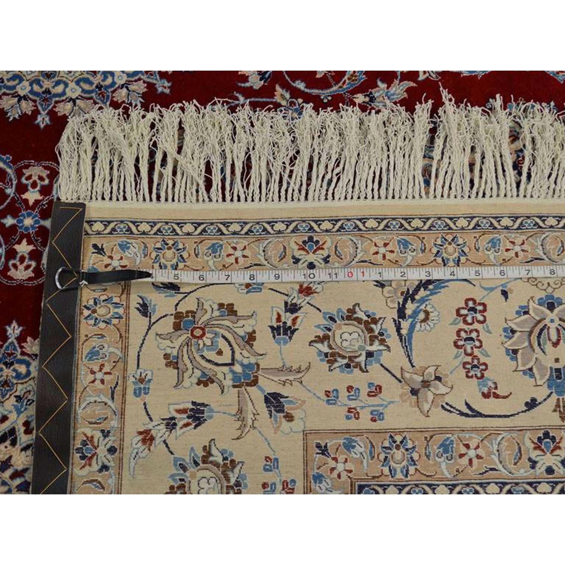 6-x9- Wool and Silk 400 Kpsi Hand-Knotted Signed Persian Nain Rug