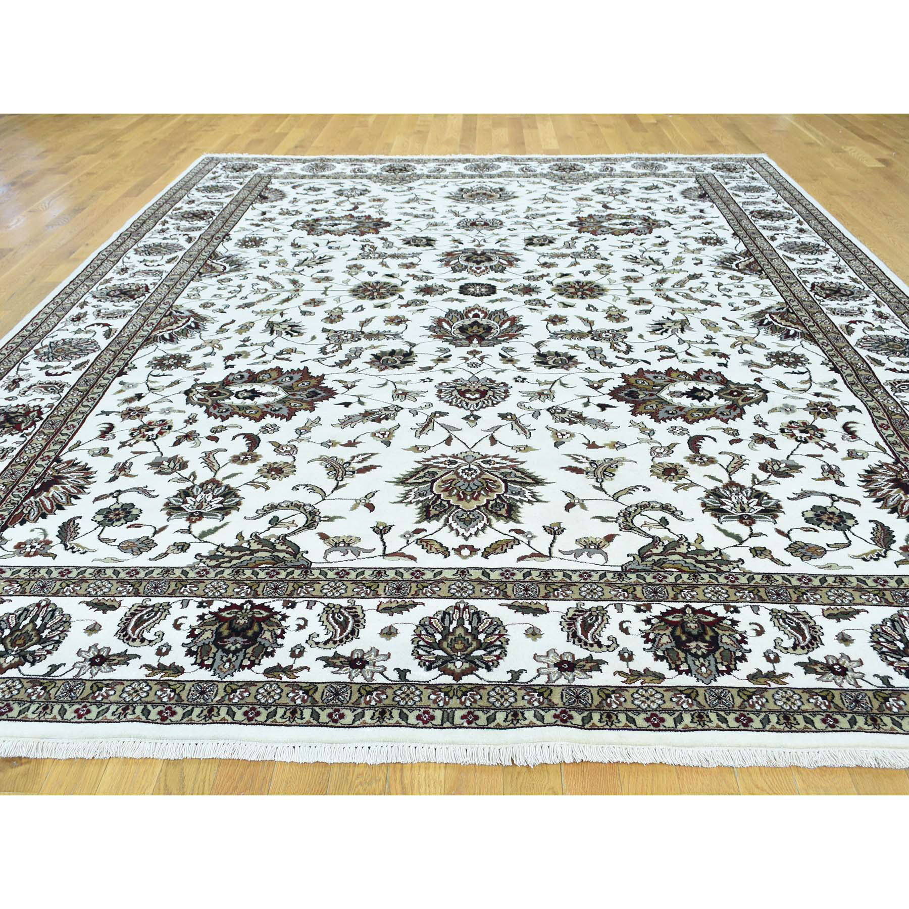 9-x11-10  Wool and Silk Hand-Knotted 250 KPSI Indo Persian  Kashan Oriental Rug