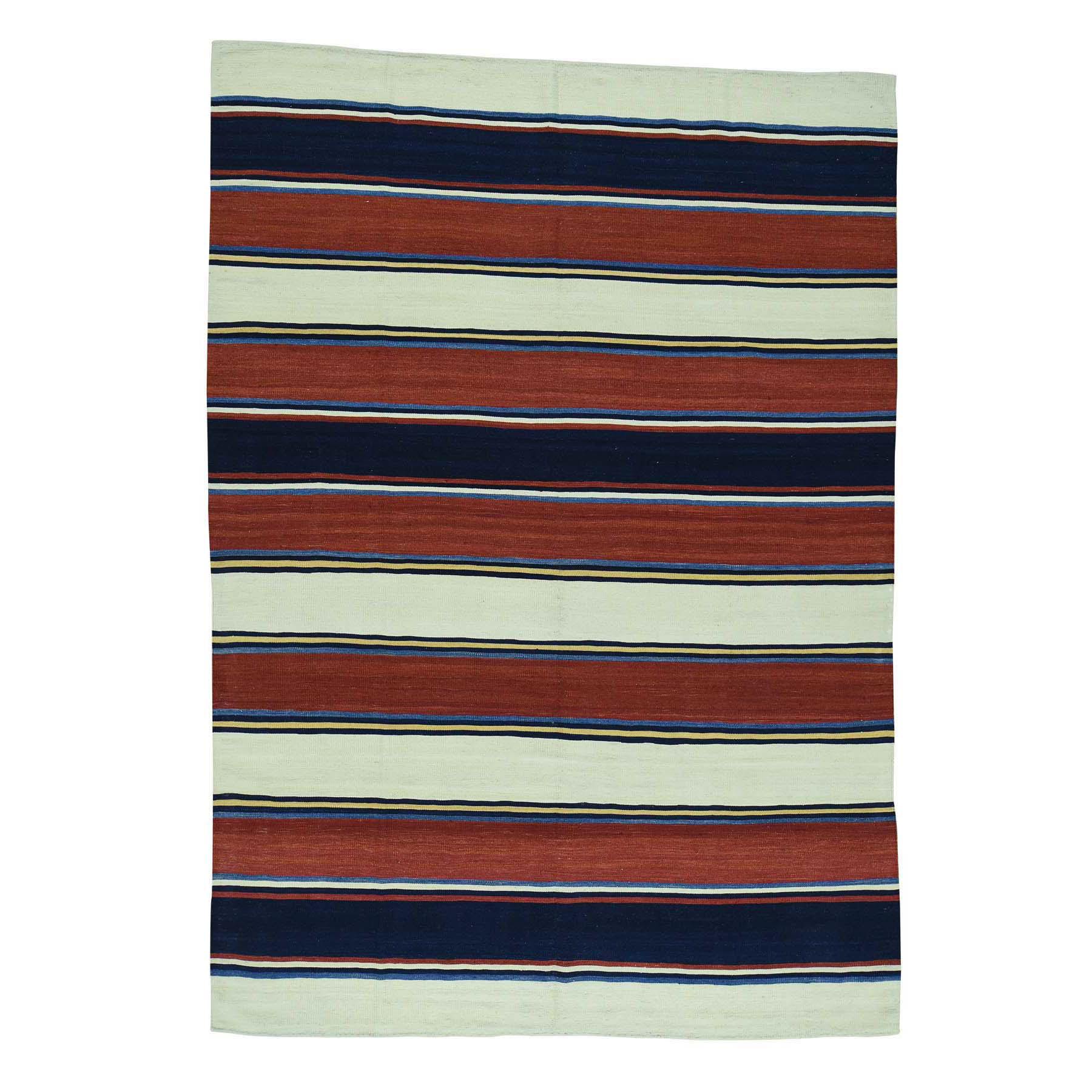 "6'5""X9' Hand Woven Flat Weave Striped Qashqai Kilim Oriental Rug moac6a60"