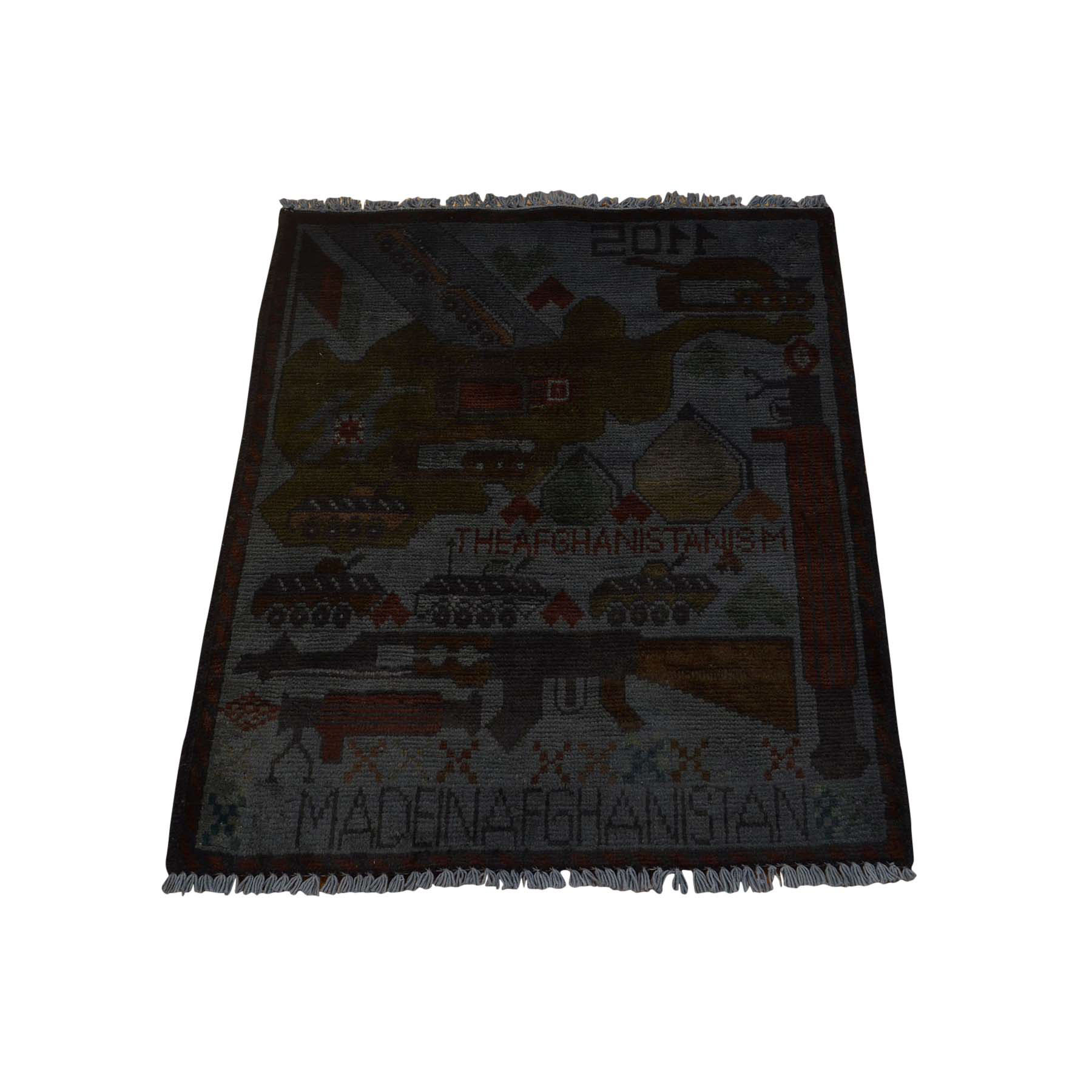 "2'X2'6"" Hand-Knotted Pure Wool Overdyed Afghan War Oriental Rug moac6a96"
