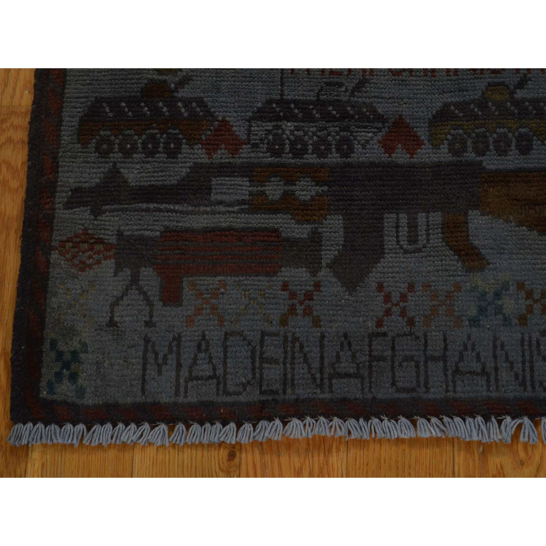2-x2-6  Hand-Knotted Pure Wool Overdyed Afghan War Oriental Rug