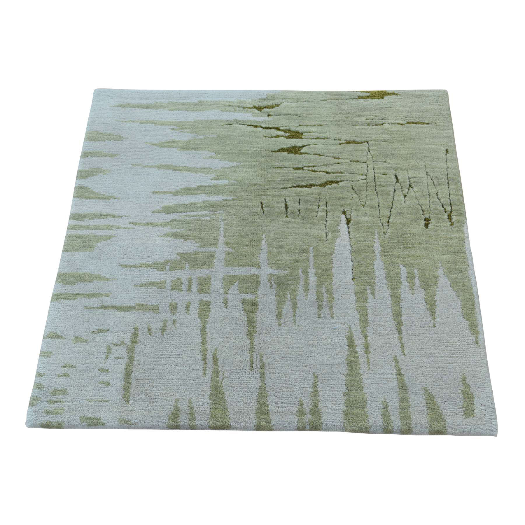 2'x2' Abstract Design Modern Wool and Silk Hand-Knotted Oriental Rug