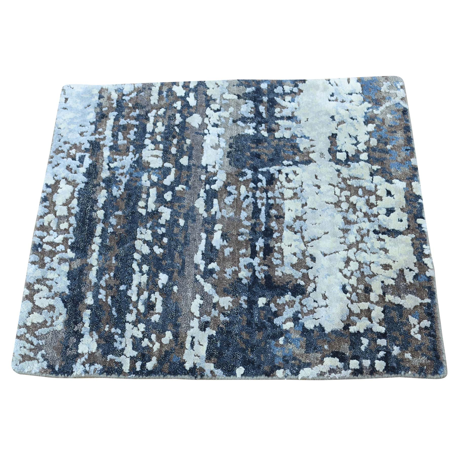 2'X2' Hand-Knotted Wool And Silk Abstract Square Hi And Low Pile Rug moac6bd7