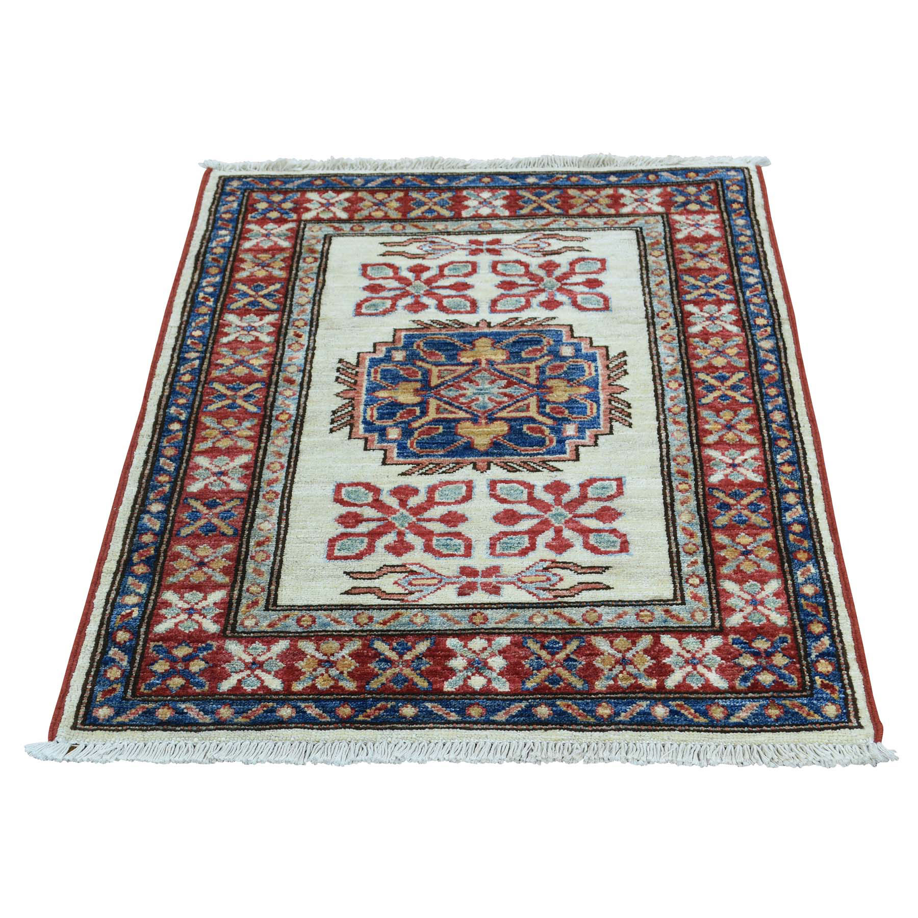 "2'1""X2'10"" Hand Knotted Tribal And Geometric Pure Wool Super Kazak Rug moac6be0"