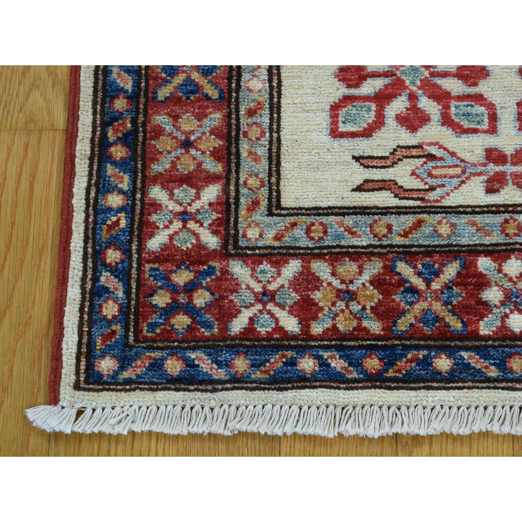 2-1 X2-10  Hand Knotted Tribal And Geometric Pure Wool Super Kazak Rug