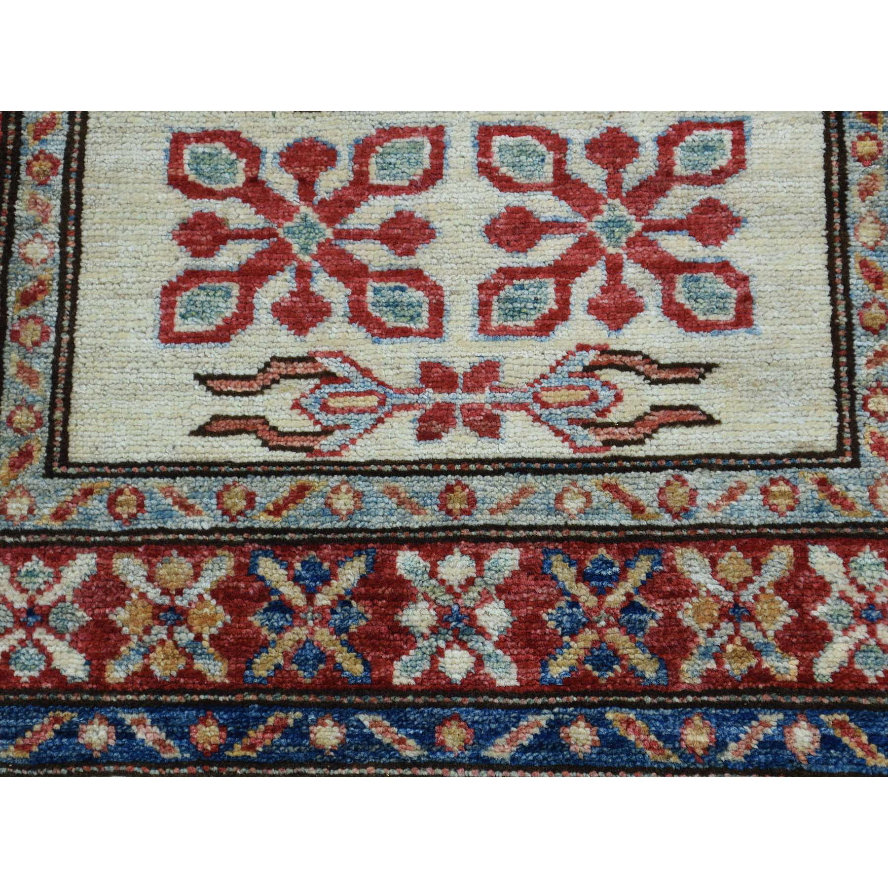 2-1 X2-10  Hand Knotted Tribal And Geometric Pure Wool Super Kazak Rug