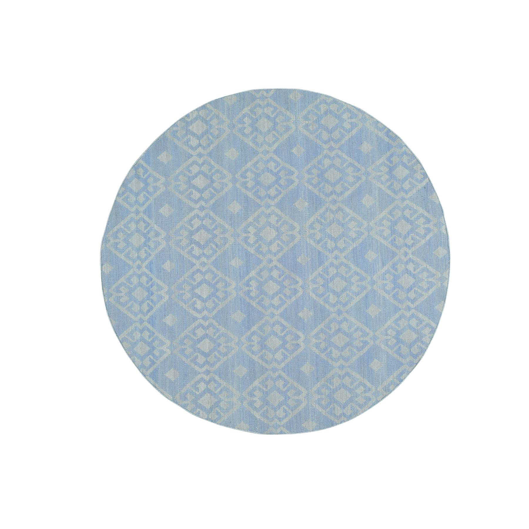 6'X6' Reversible Flat Weave Hand-Woven Durie Kilim Round Oriental Rug moac6b9a
