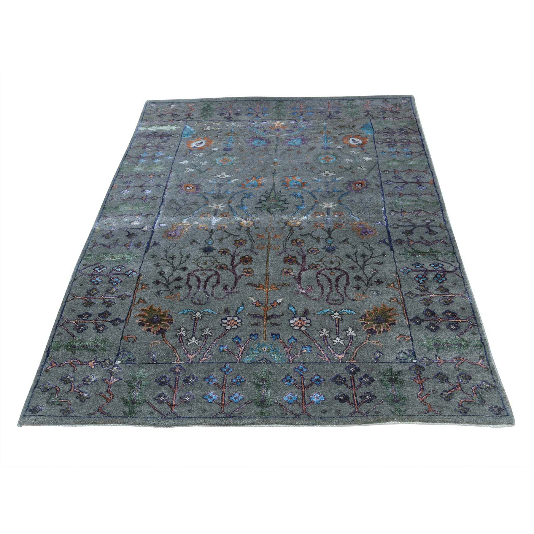 """5'x7'1"""" Hand-Knotted Arts and Crafts Design Wool and Silk Oriental Rug"""
