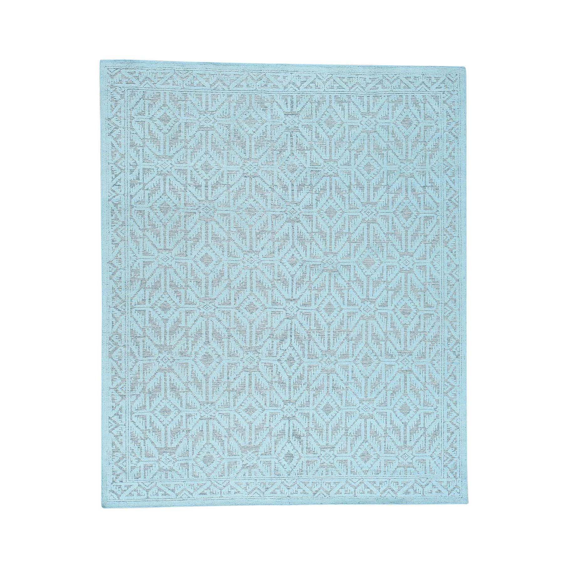 9'X12' Oxidized Wool Hi And Low Pile Oushak Design Seafoam Green Rug moac6dad