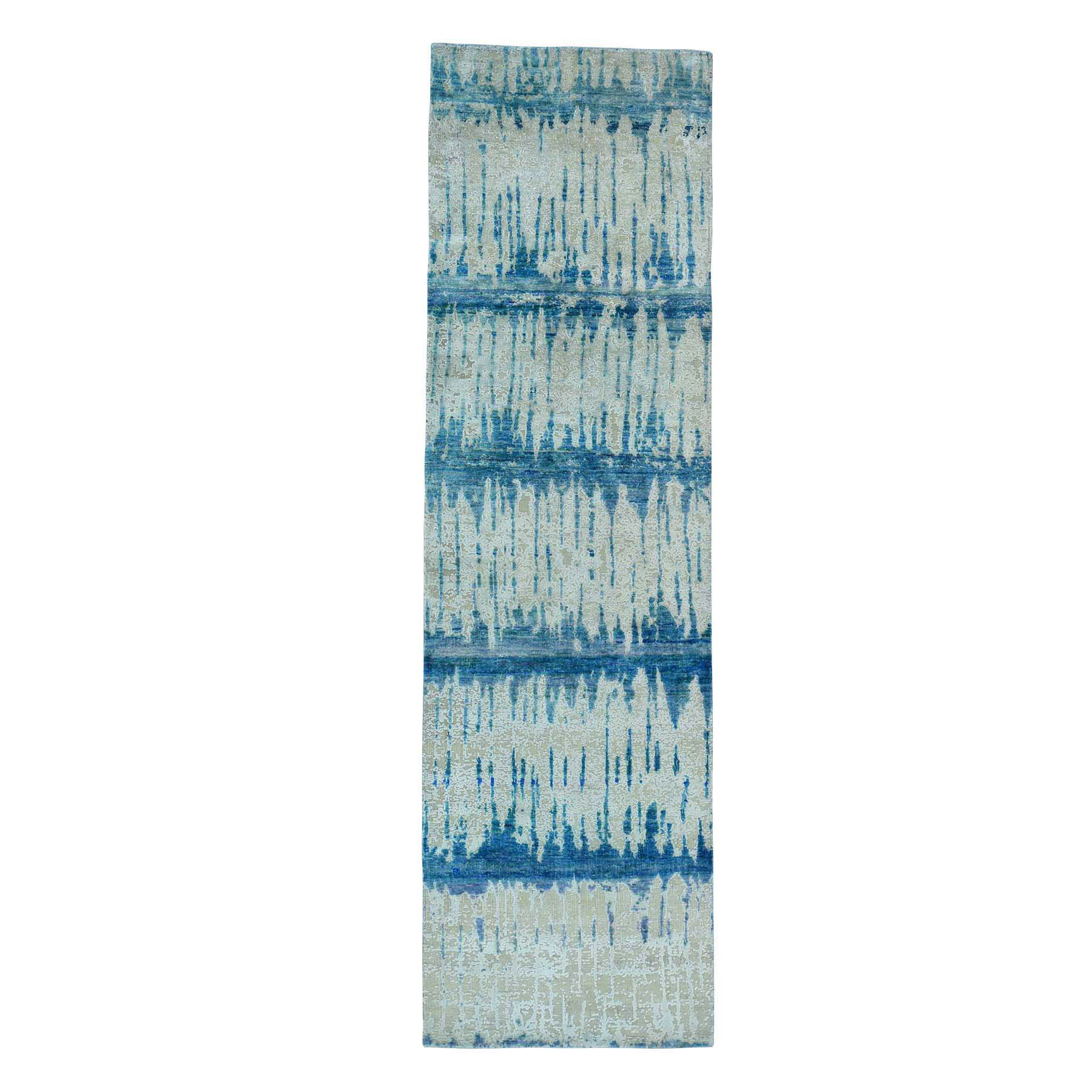"3'X10'1"" The Cardiac Hand-Knotted Sari Silk With Oxidized Wool Runner Rug moac6da9"