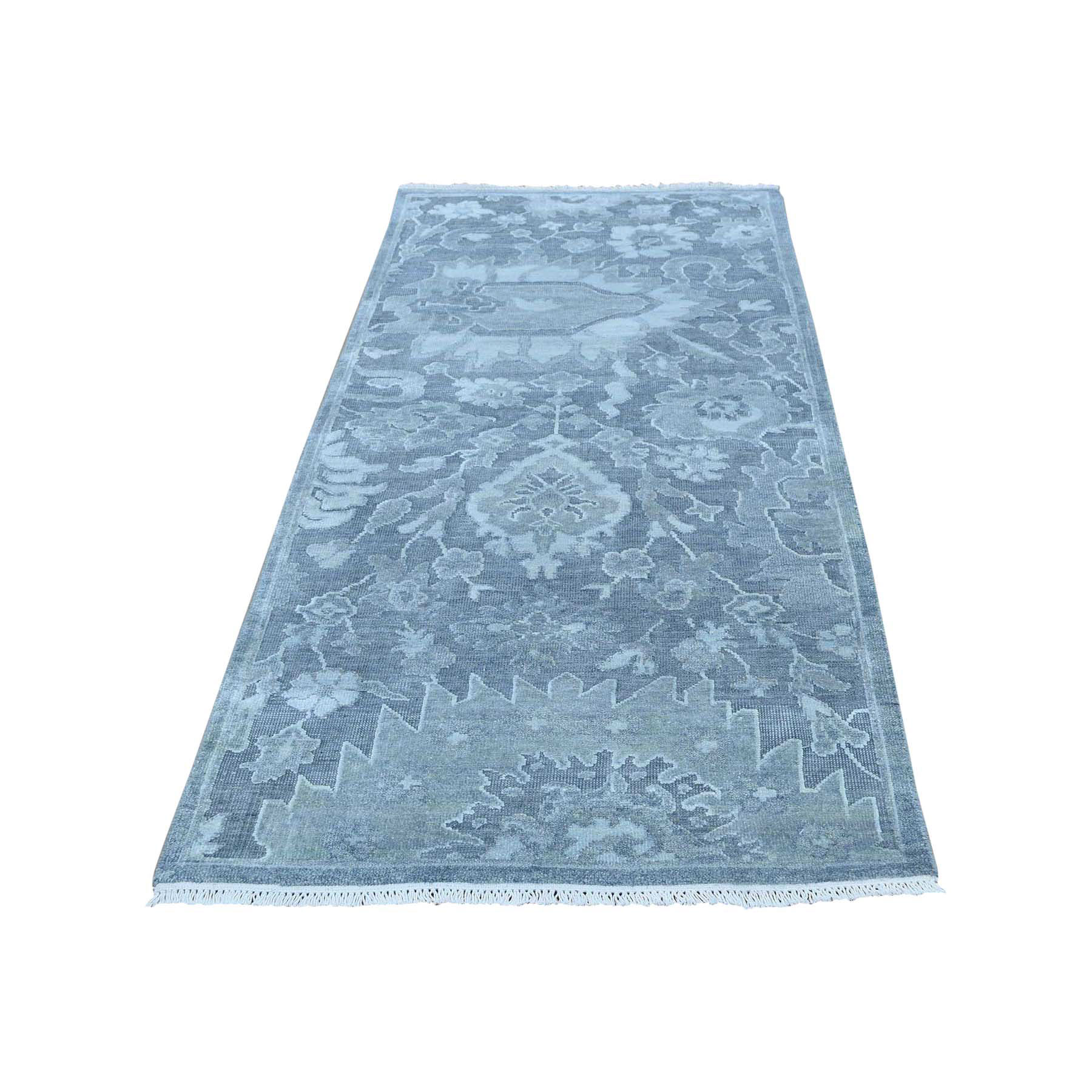 "2'5""x6'3"" Pure Silk with Textured Wool Oushak Design Oriental Runner Rug"