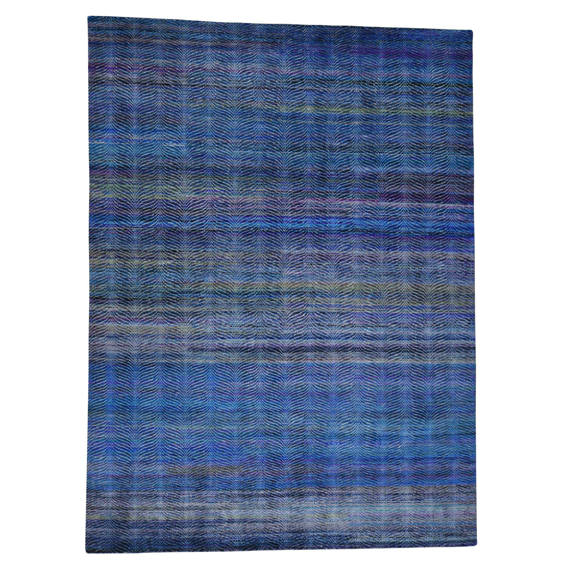 "9'X12'2"" Grass Design Sari Silk And Oxidized Wool Oriental Rug moac6dbe"