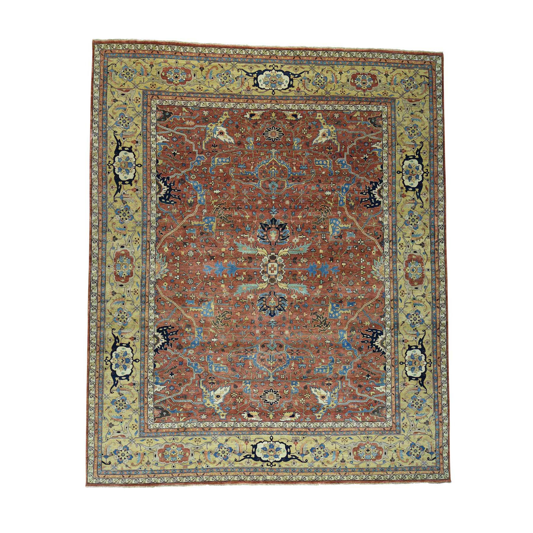 "12'2""X14'9"" Hand-Made Antiqued Heriz Re-Creation Oversize Pure Wool Rug moac6deb"